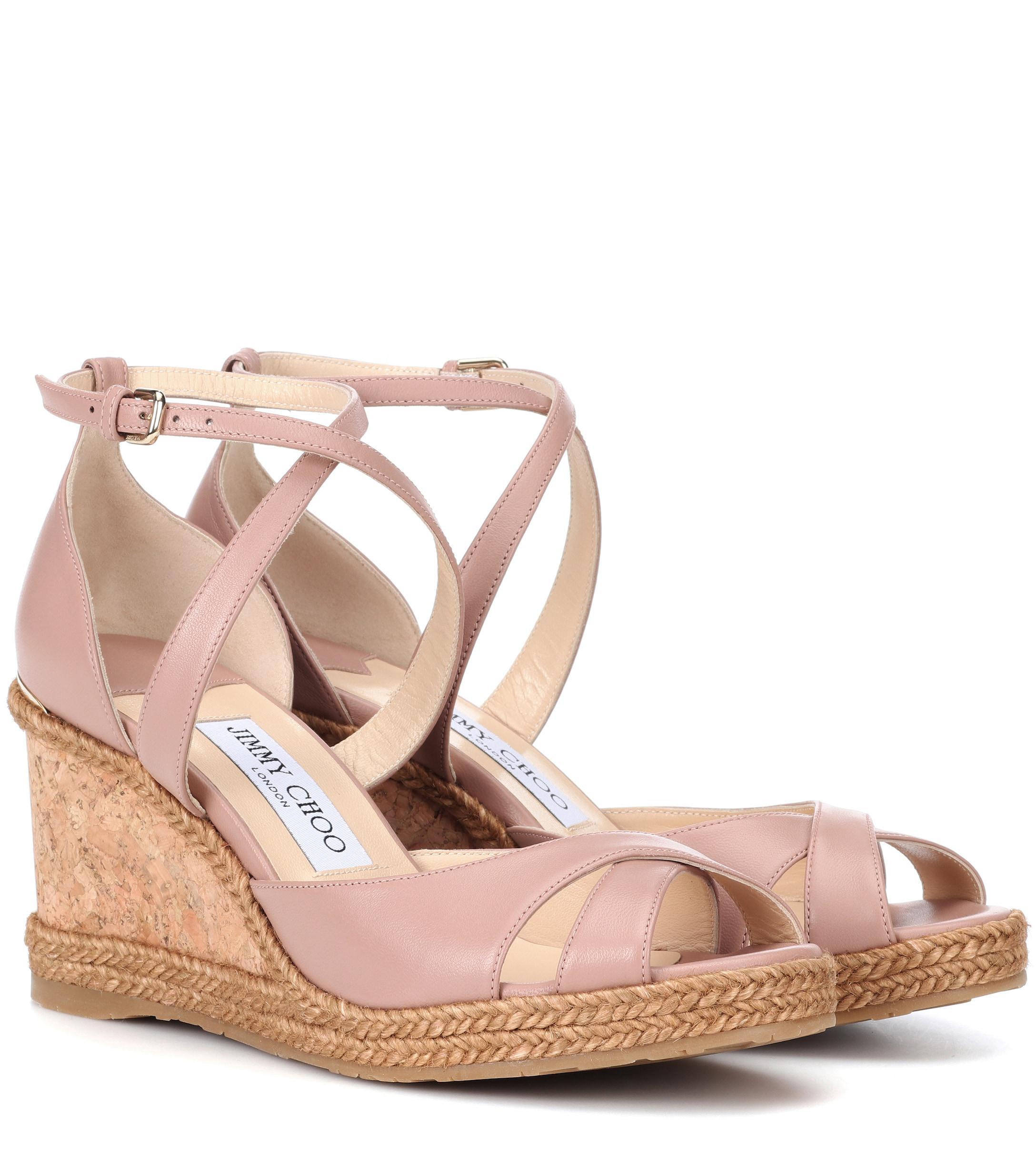 ec580851f74c Jimmy Choo - Pink Alanah 80 Leather Wedge Sandals - Lyst. View fullscreen
