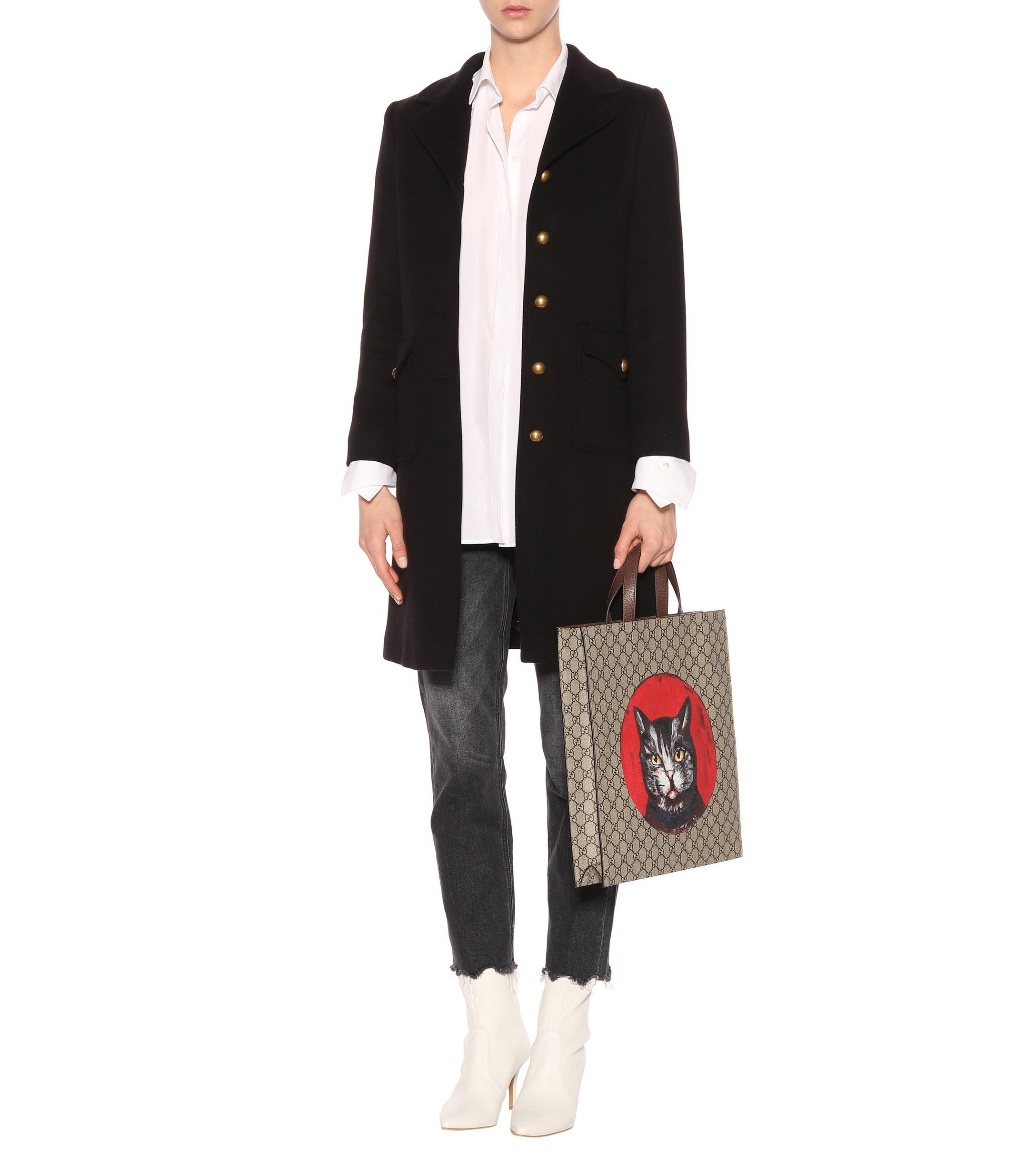 289c62523f5 Gucci - Black Double G Wool Coat - Lyst. View fullscreen