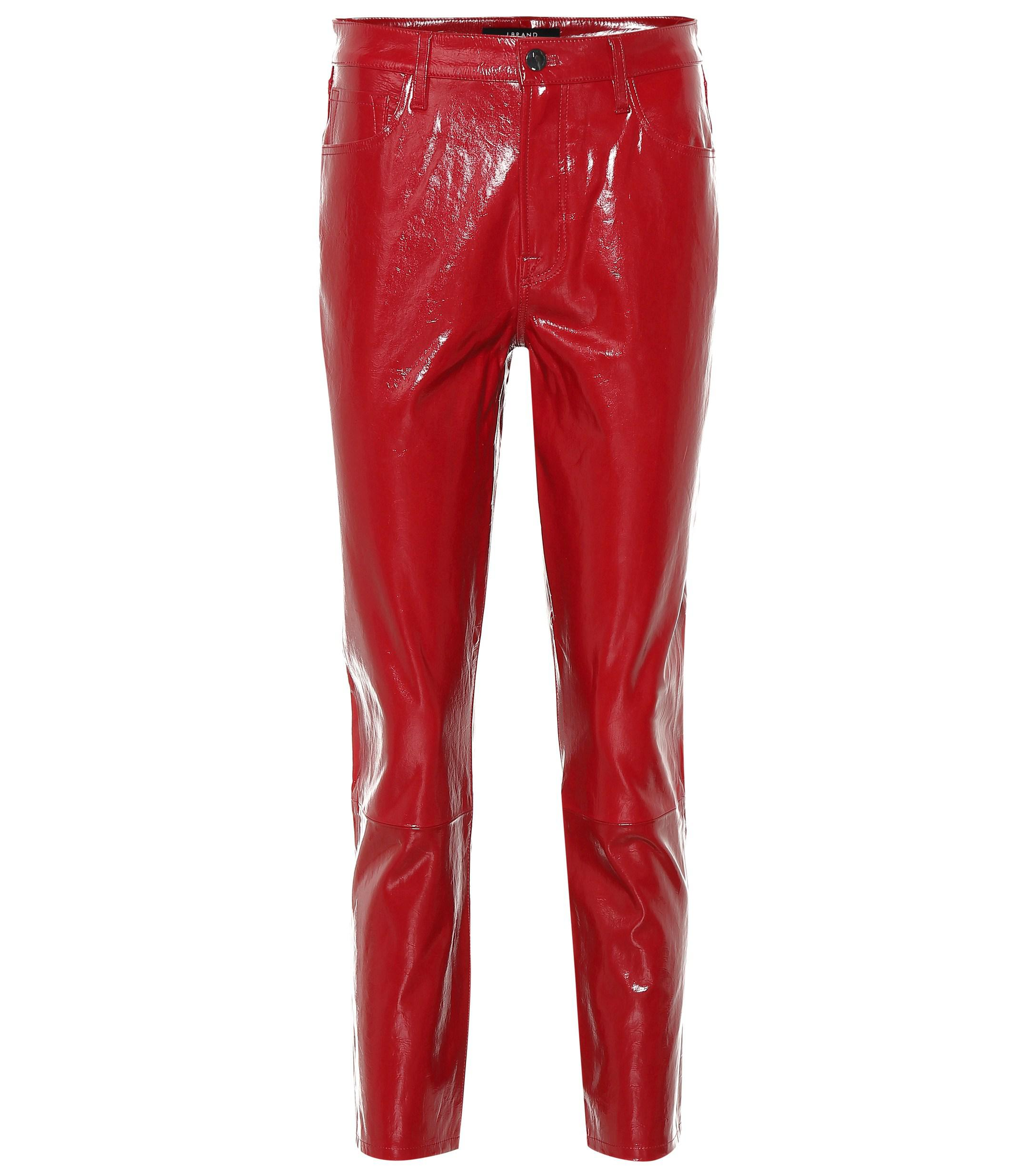 6accd00d643e J Brand. Women s Red Ruby High-rise Patent Leather Trousers