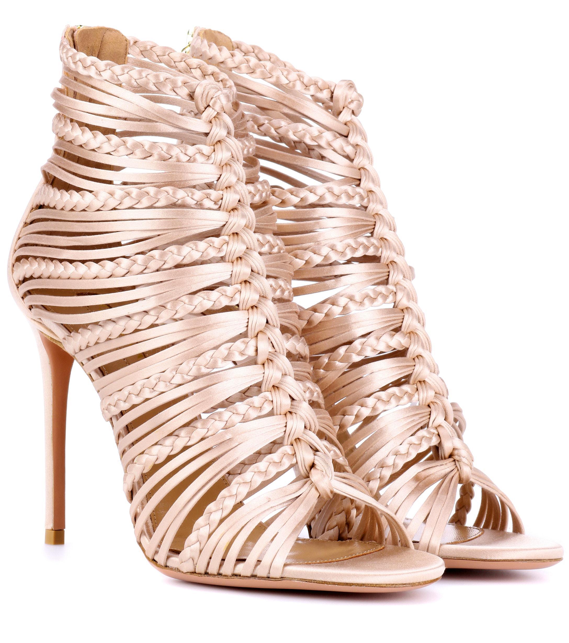 4e26eb60ce9 Lyst - Aquazzura Goddess 105 Satin Sandals in Pink
