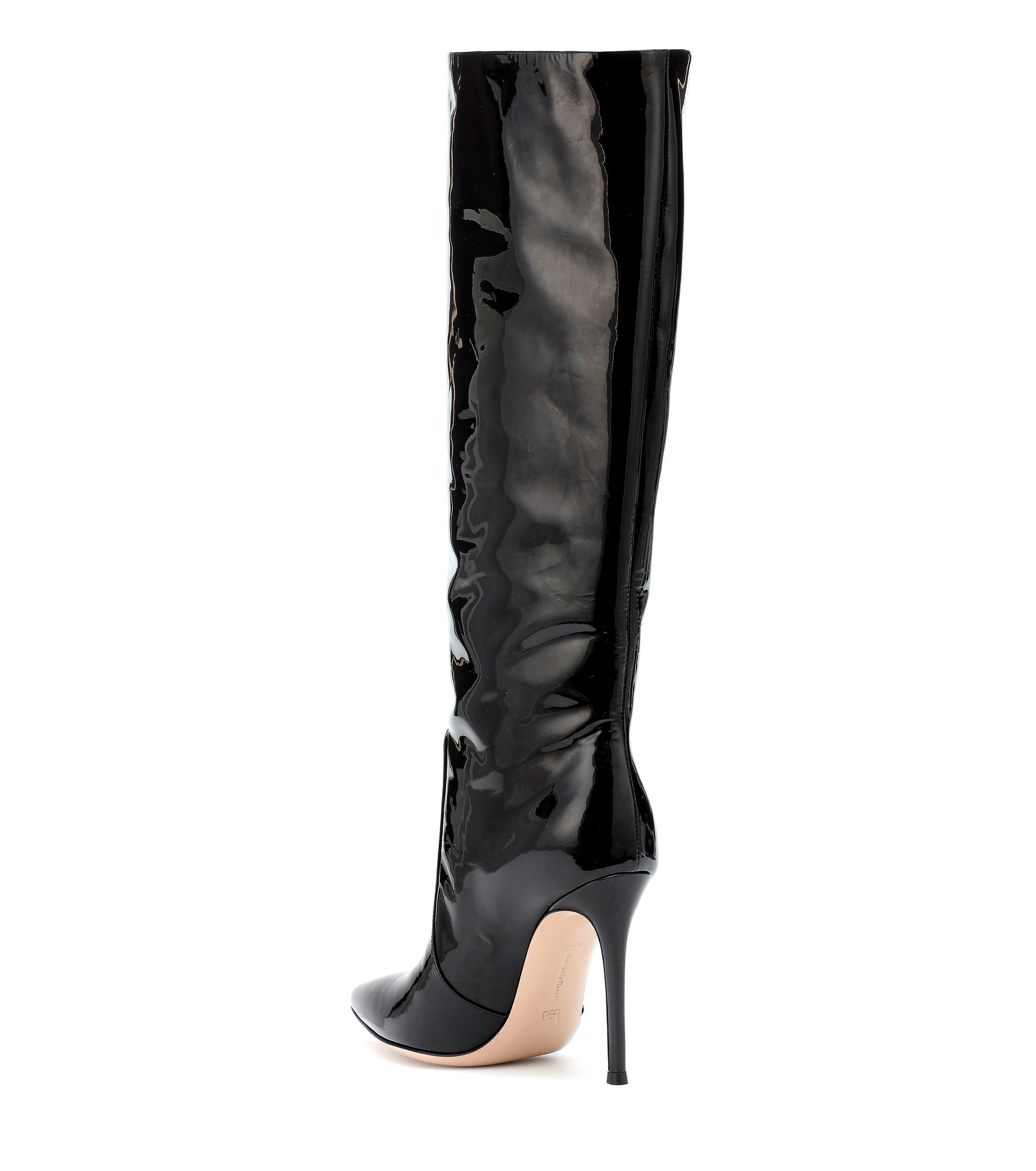e42627de50e3 Lyst - Gianvito Rossi Heather 105 Black Patent Leather Boots in Black