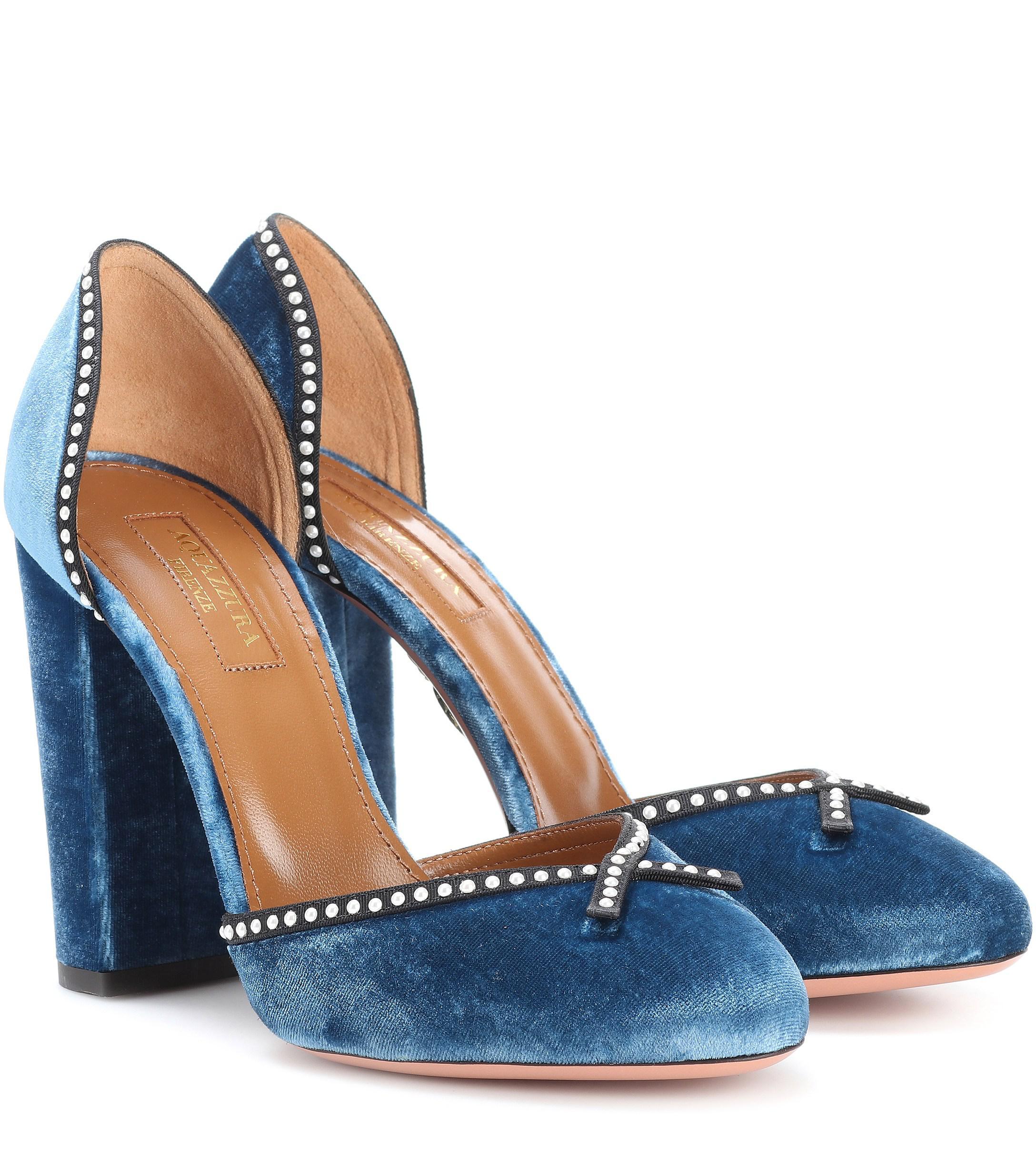 a648acbcd23 Aquazzura. Women s Blue Lou Lou 105 Velvet Court Shoes