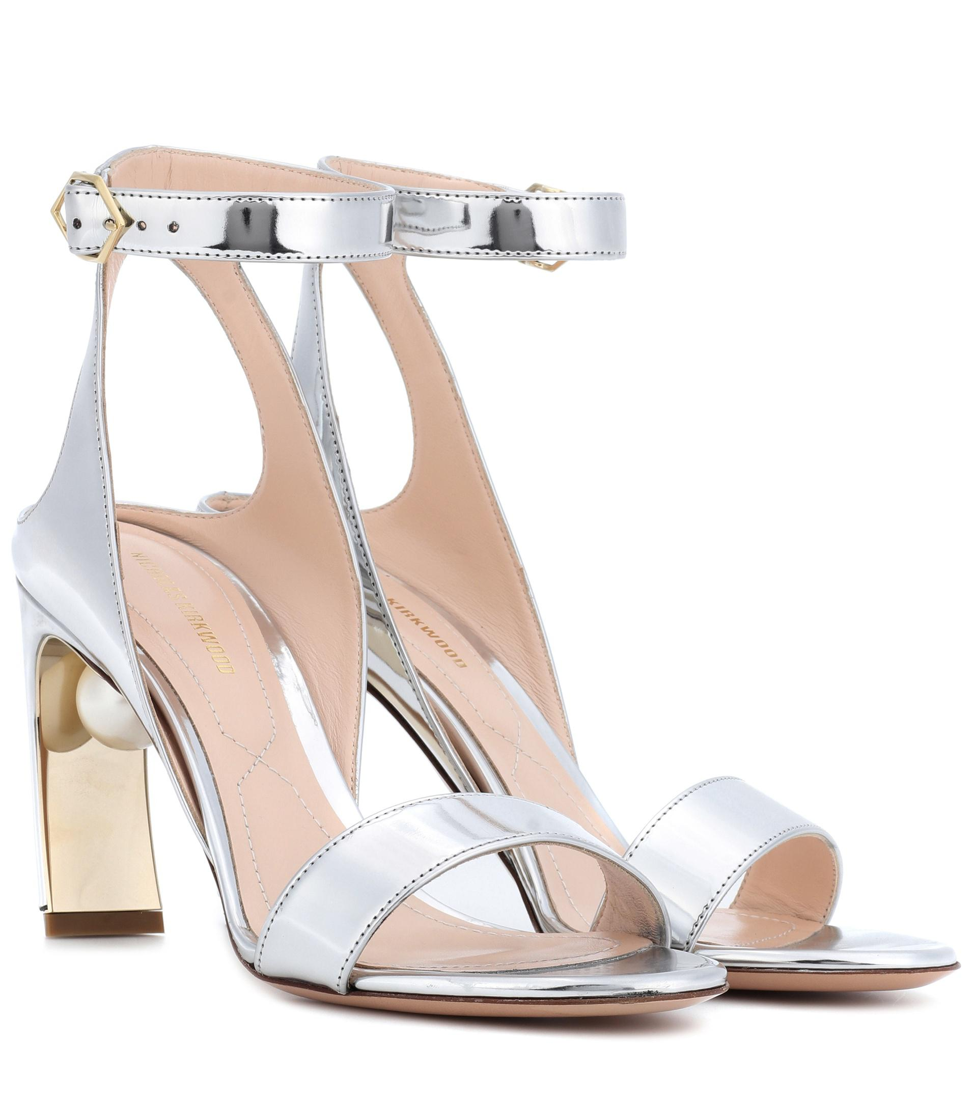 Nicholas Kirkwood Lola Pearl 90mm metallic sandals