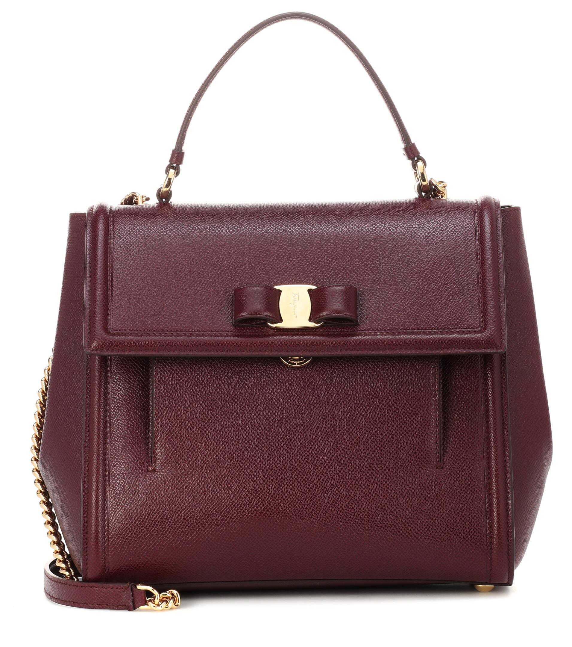 b6f93c2100 Ferragamo Carrie Leather Shoulder Bag in Purple - Lyst
