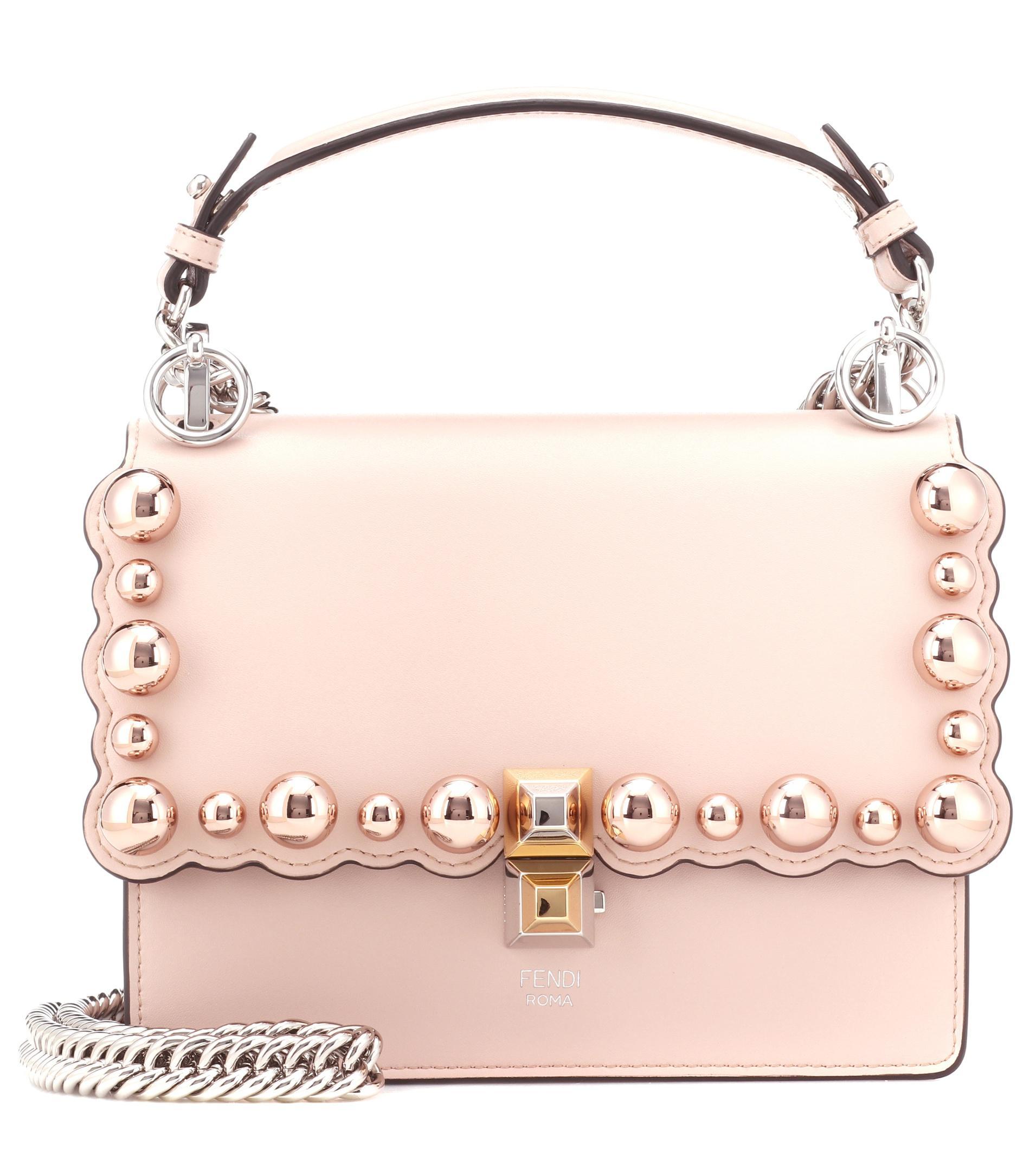 d98c275b6804 Fendi Kan I Mini Leather Shoulder Bag in Pink - Lyst