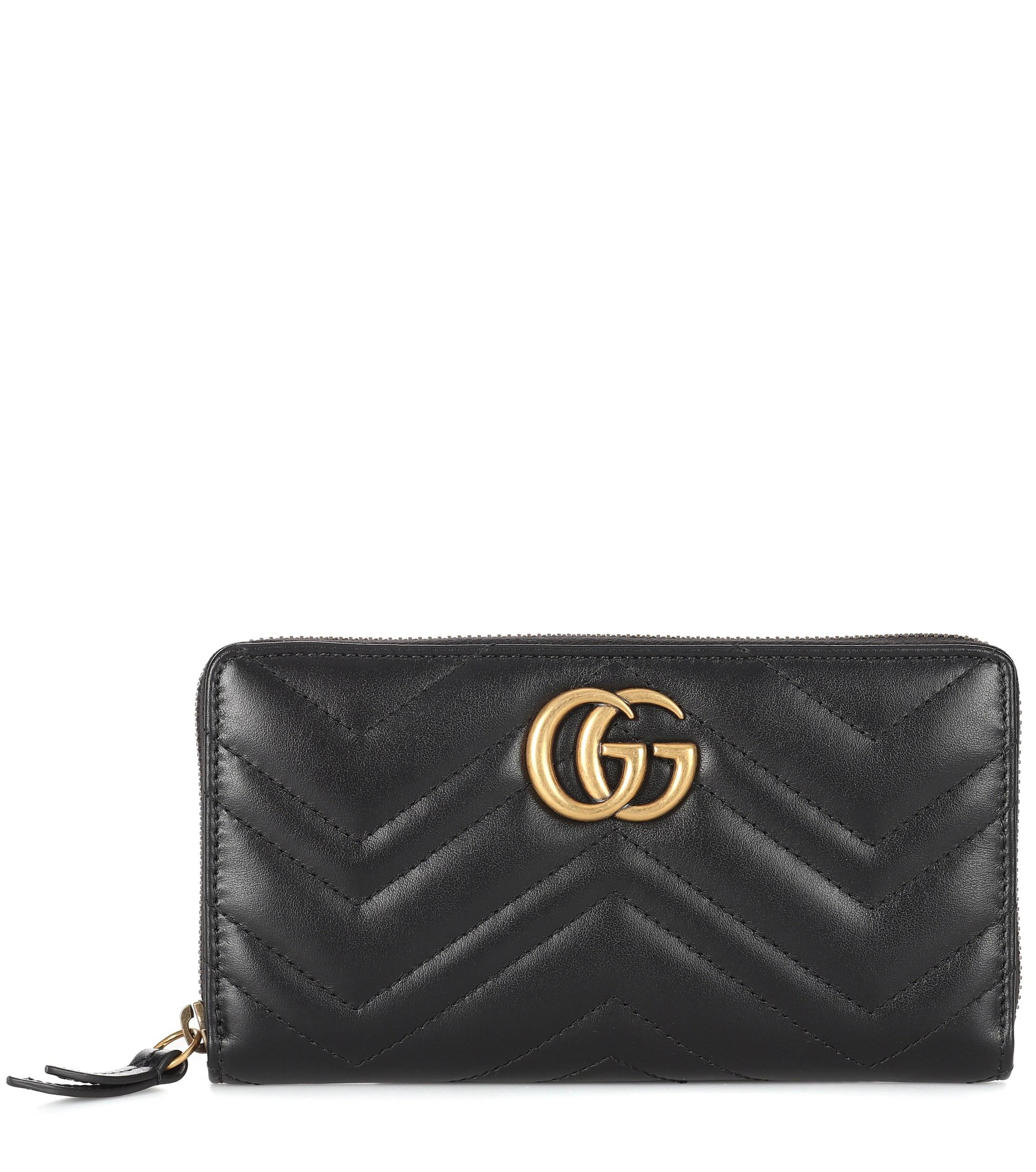 72c42377ae2 Lyst - Gucci GG Marmont Leather Wallet in Black - Save ...