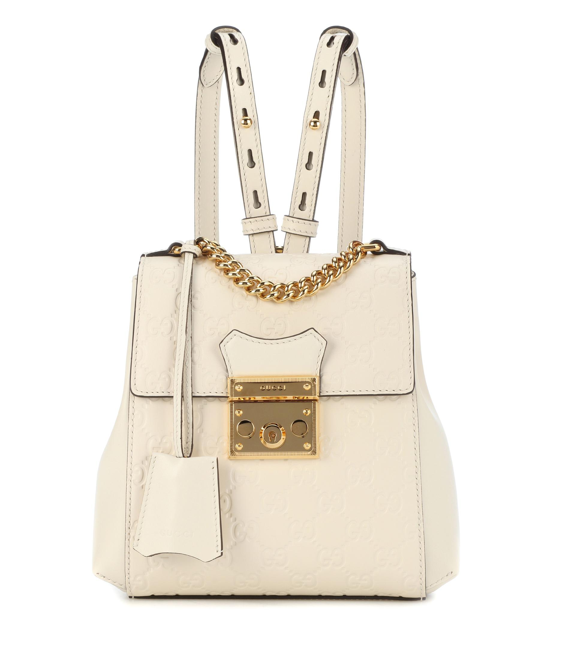 a82c7b06f0c Gucci - White Padlock Embossed Leather Backpack - Lyst. View fullscreen