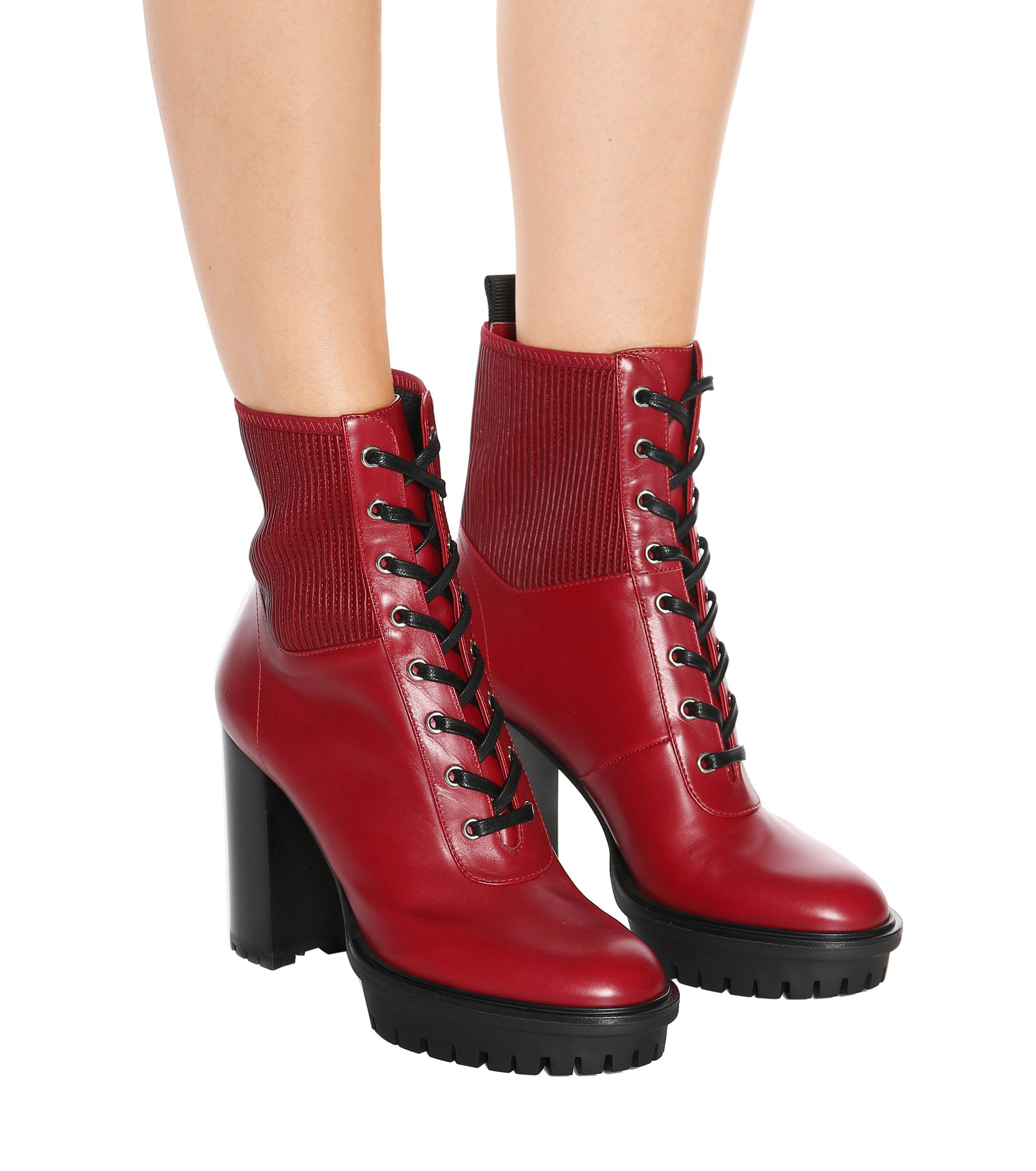 6dd3a6124e217 Gianvito Rossi - Red Martis 20 Leather Ankle Boots - Lyst. View fullscreen
