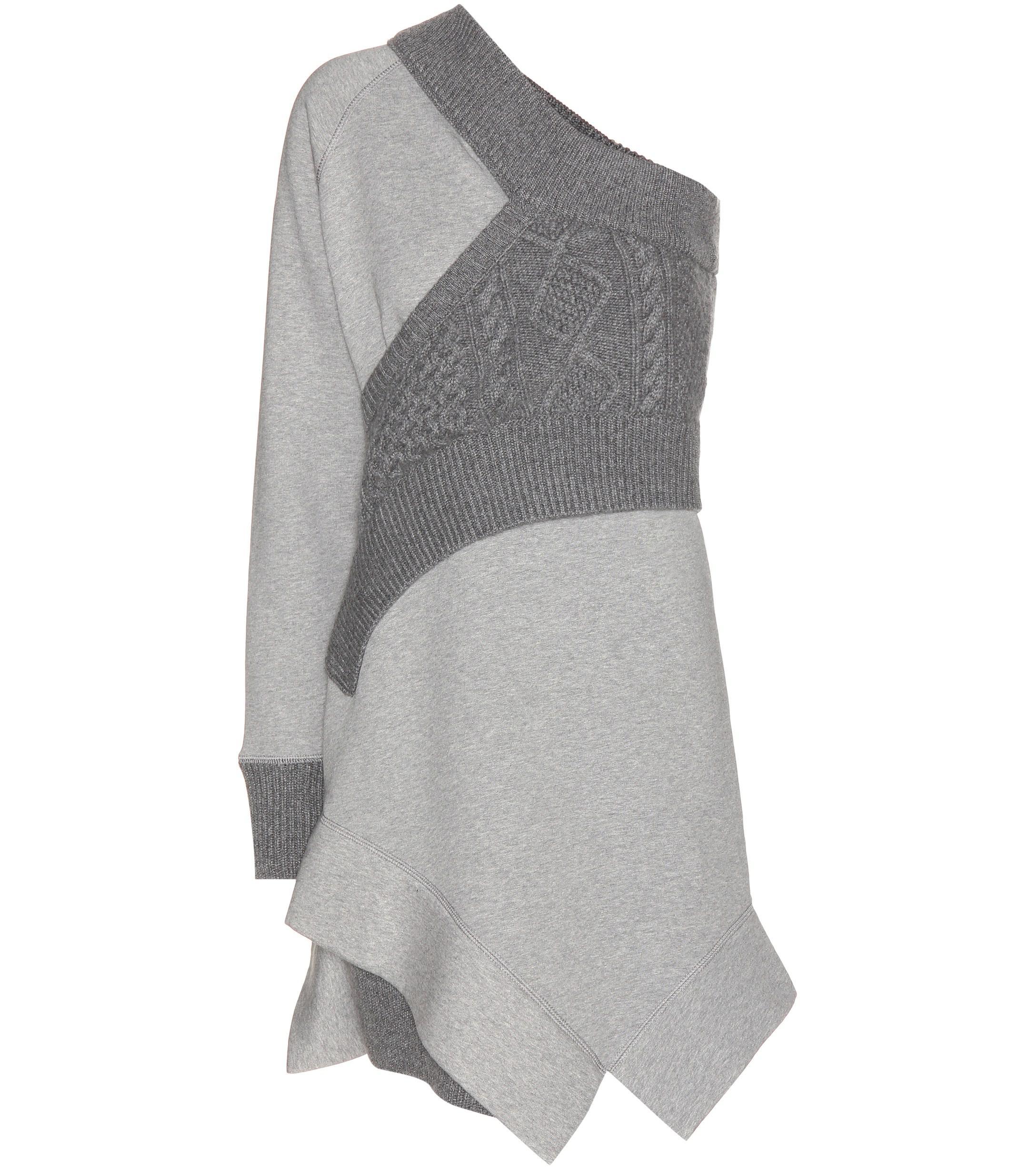 1eab943efb656 Lyst - Robe-pull asymétrique en jersey de coton Burberry en coloris Gris