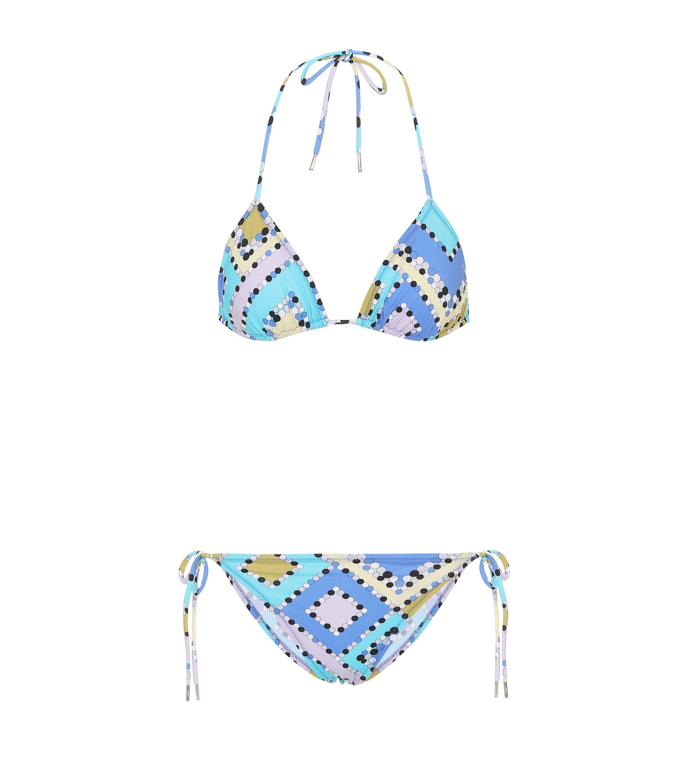 09796b5ff61e3 Lyst - Emilio Pucci Printed Triangle Bikini in Blue