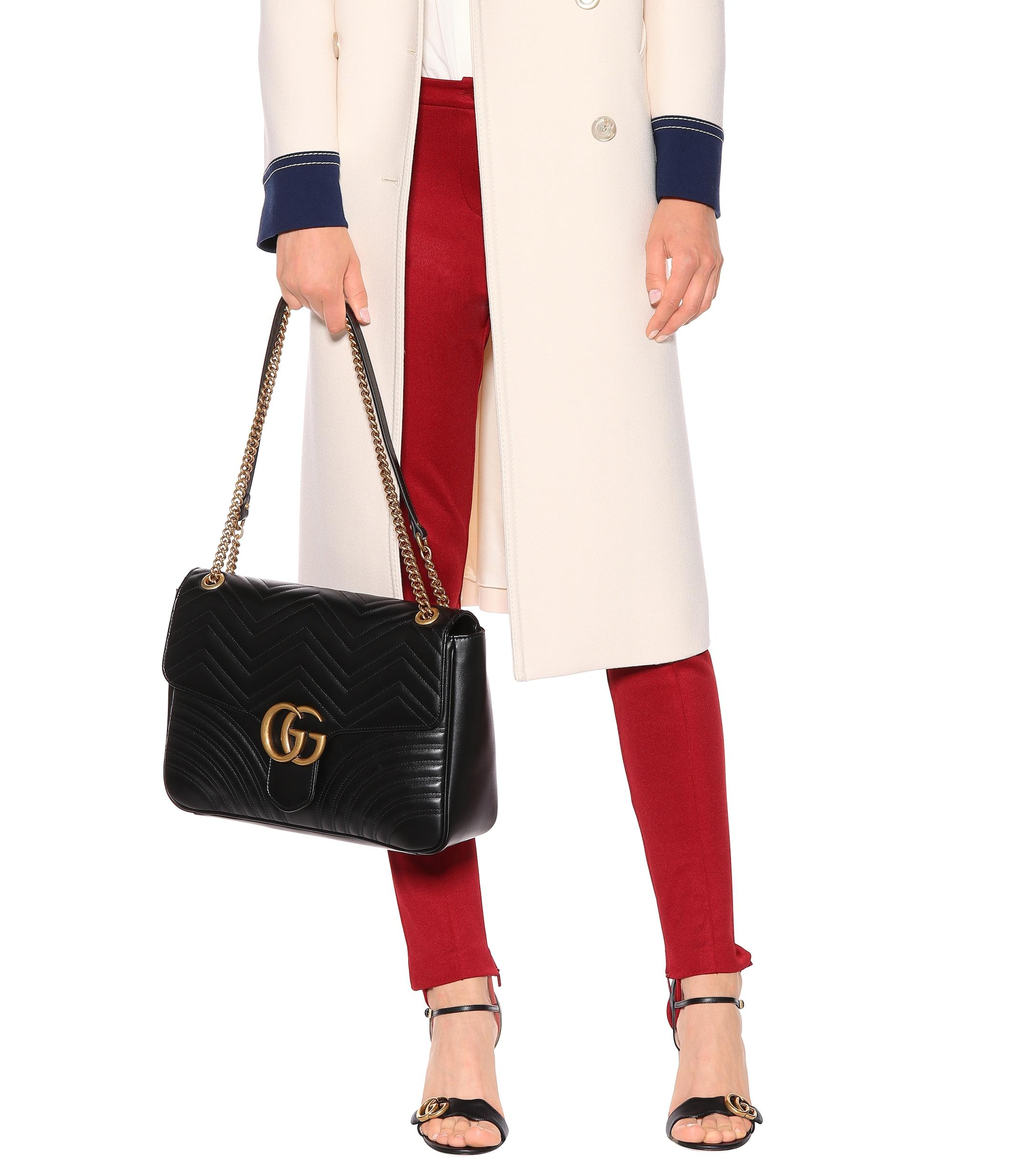 dfc2c9ba19f Gucci - Black GG Marmont Large Shoulder Bag - Lyst. View fullscreen
