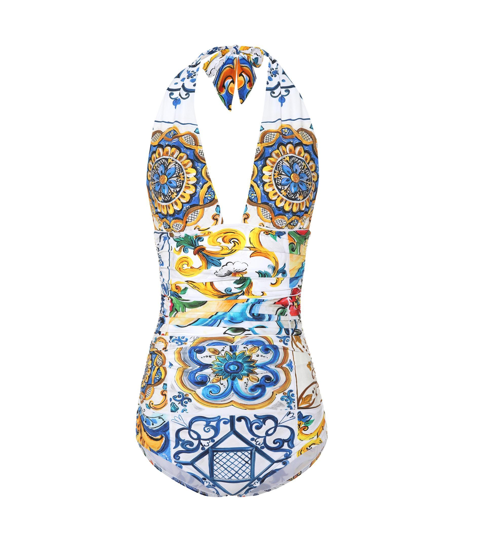 5c9e0c1d5d Lyst - Dolce   Gabbana Majolica Printed Swimsuit in Blue