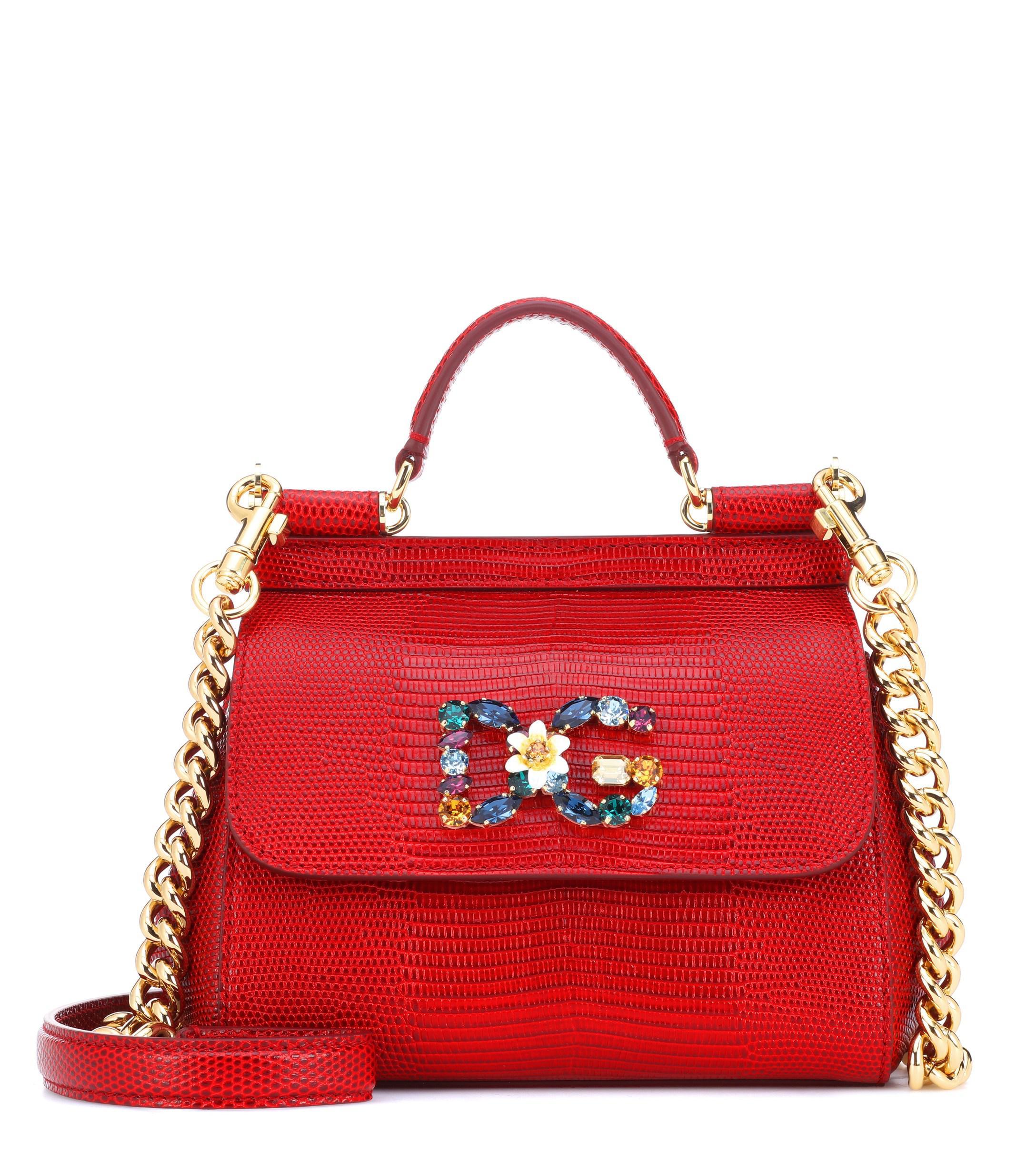 6f1f6a510f Lyst - Dolce   Gabbana Sicily Mini Leather Shoulder Bag in Red