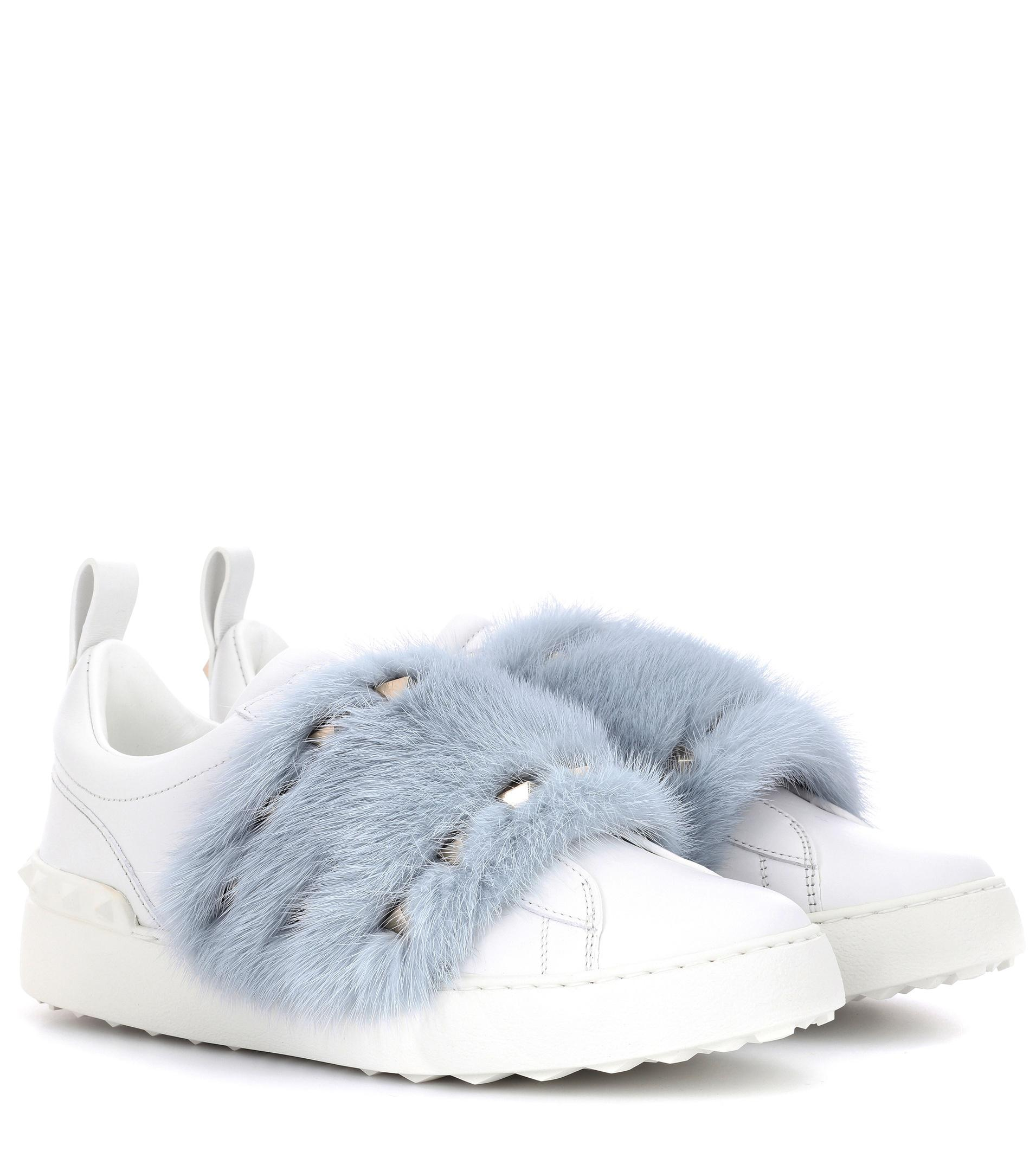 Valentino White & Pink Valentino Garavani Mink Open Sneakers GuKGZfJTE1