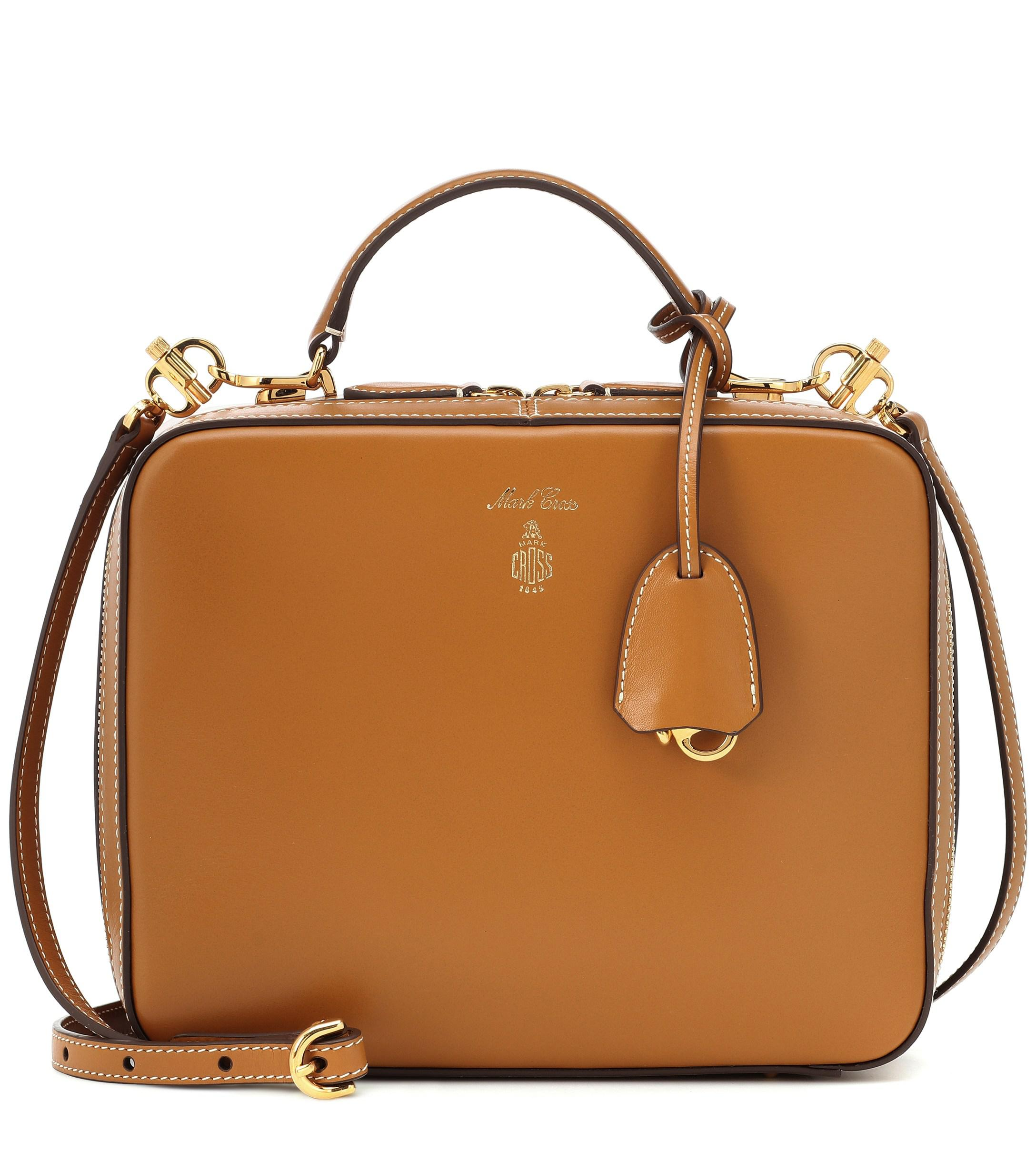 88714be92422 Mark Cross Laura Leather Shoulder Bag in Natural - Lyst