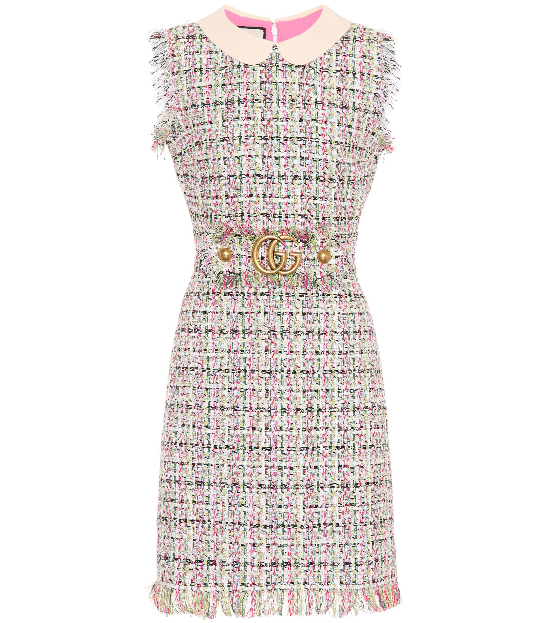 615263895ef Gucci Embellished Tweed Dress - Lyst