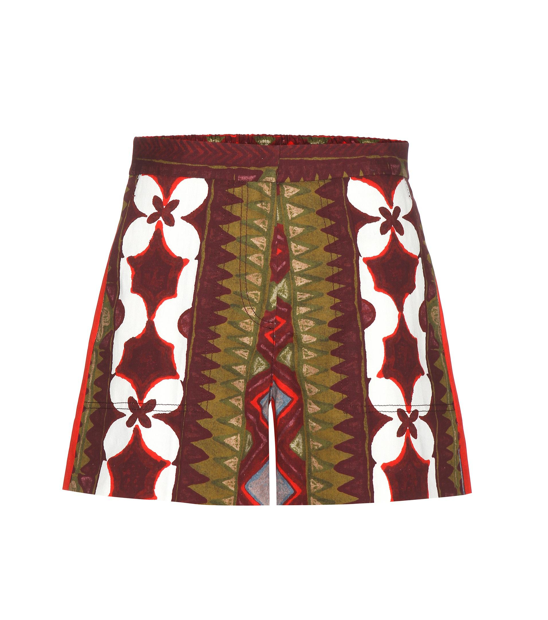 Printed cotton and linen shorts Valentino From China For Sale JBLOcwZlO3