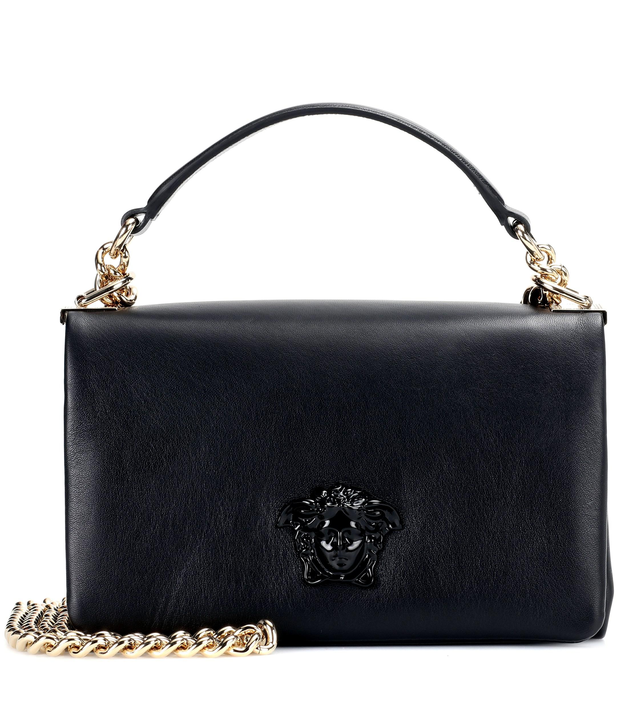 Versace Palazzo Leather Shoulder Bag in Black - Lyst 03a81f9003eed