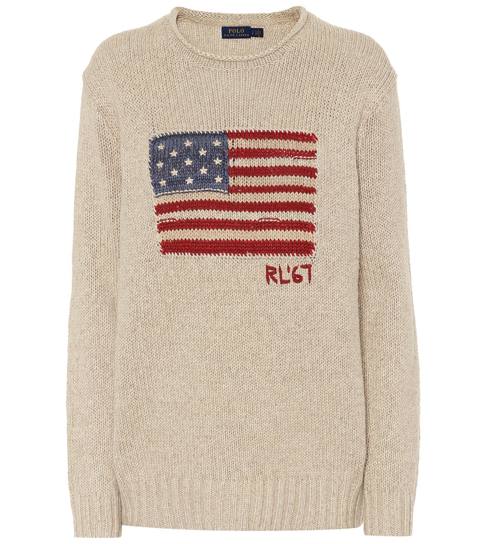 Lyst - Pull intarsia en lin et coton mélangés Polo Ralph Lauren en ... 293a5009522