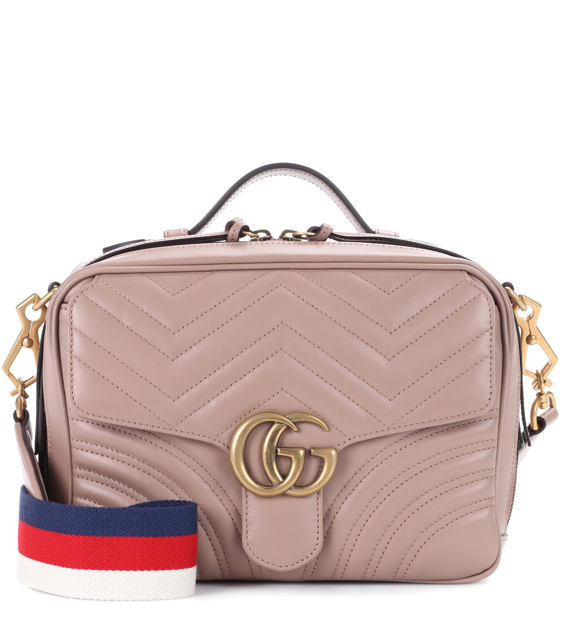 b97266aef6ec73 Gucci Gg Marmont Matelassé Leather Shoulder Bag in Natural - Lyst