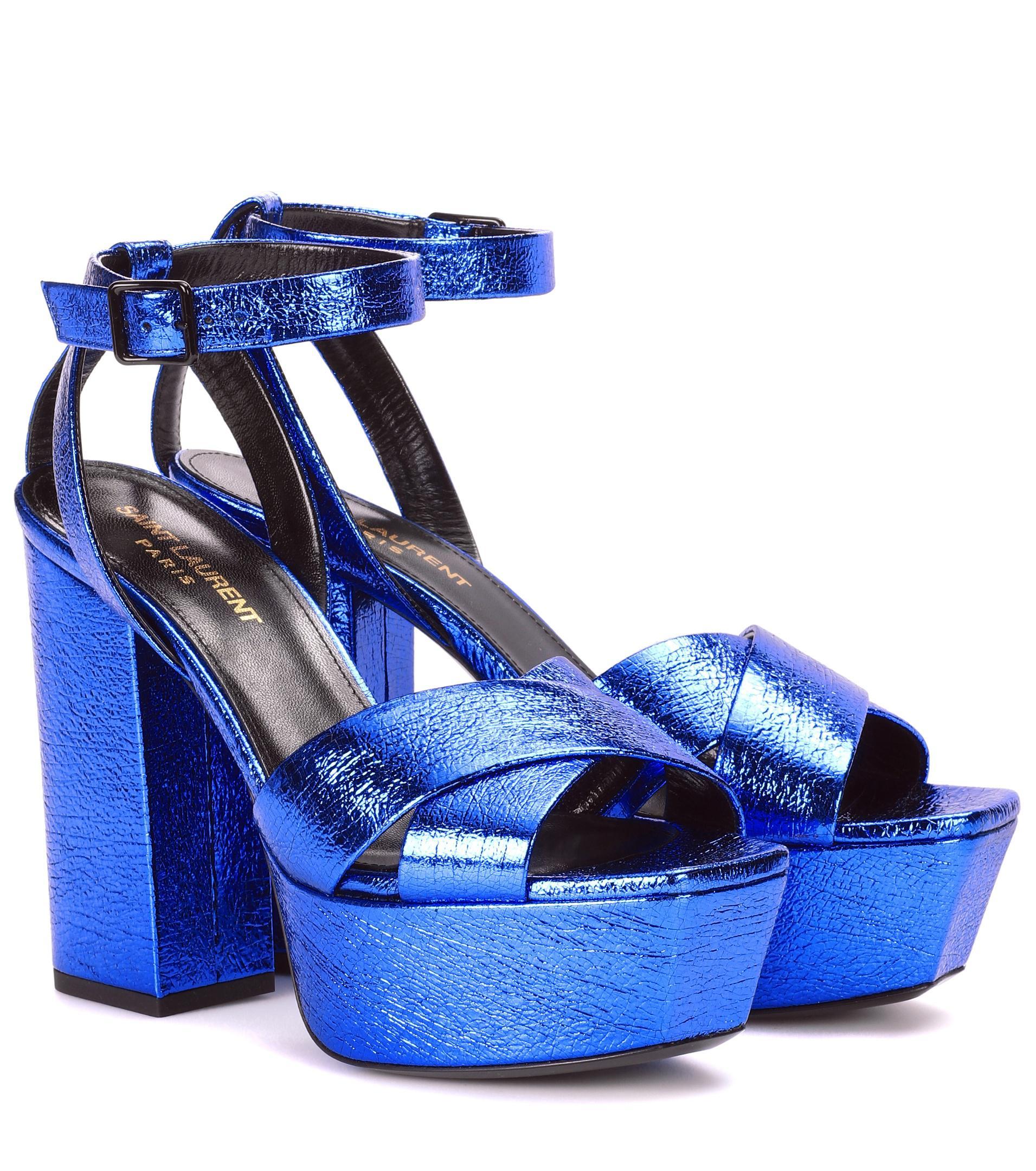 Farrah 80 metallic leather plateau sandals Saint Laurent Best Sale For Sale hDGYeFaxEk