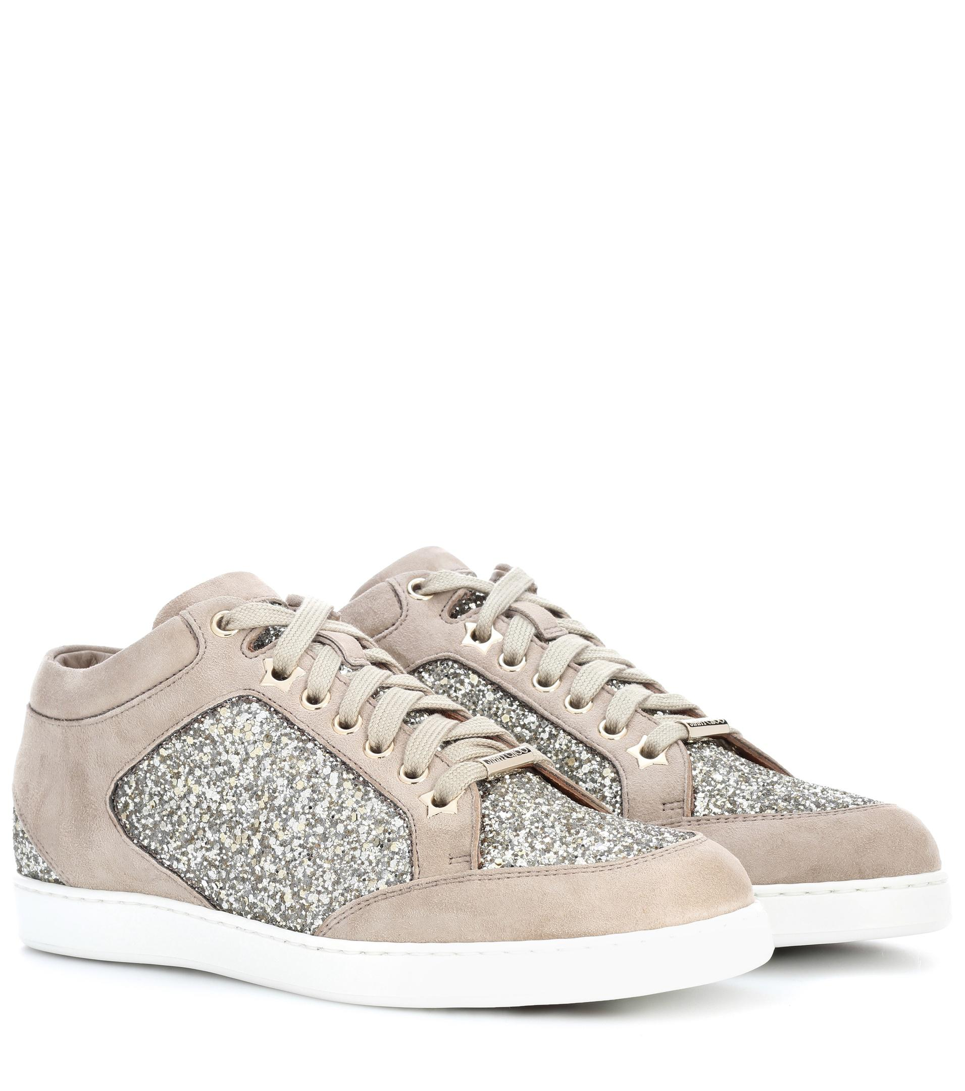 Jimmy choo Sneakers MIAMI calfskin glitter Glitter Logo feT9XRl65K
