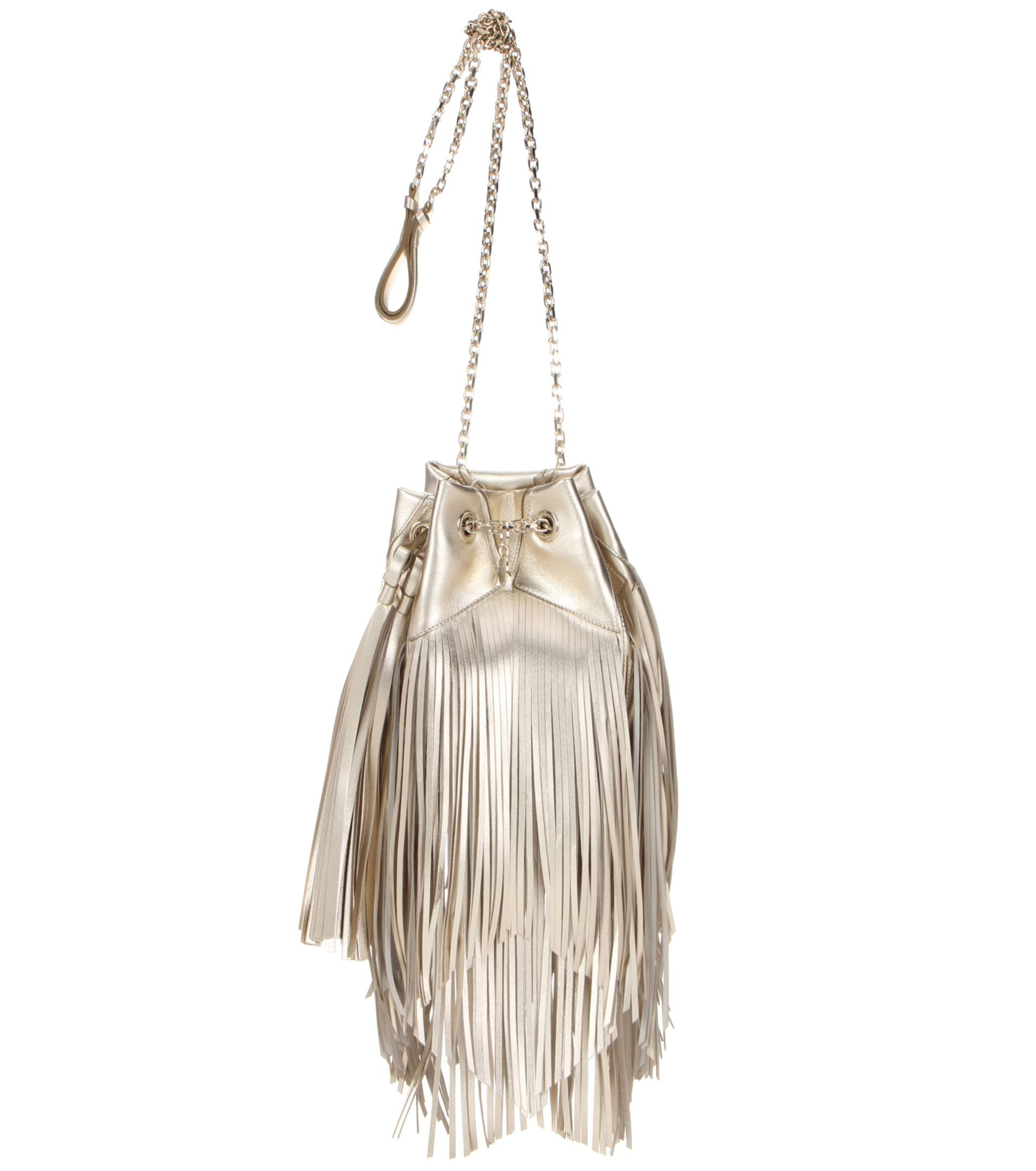 c895f2db4434 Lyst - Roger Vivier Prismick Fringed Metallic Leather Bucket Bag in ...