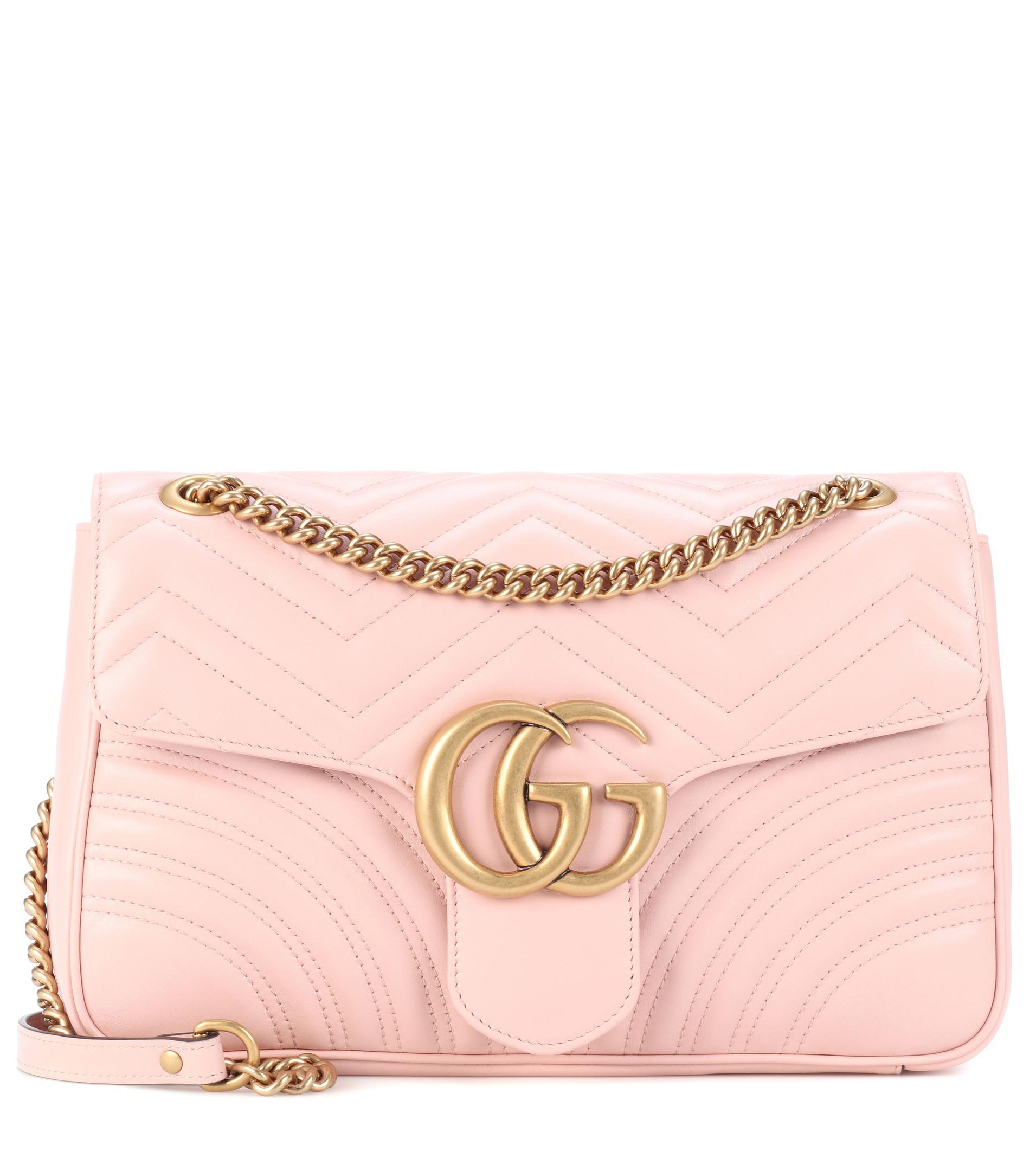 af43d3218c5 Lyst - Gucci Gg Marmont Medium Matelassé Leather Shoulder Bag in Pink