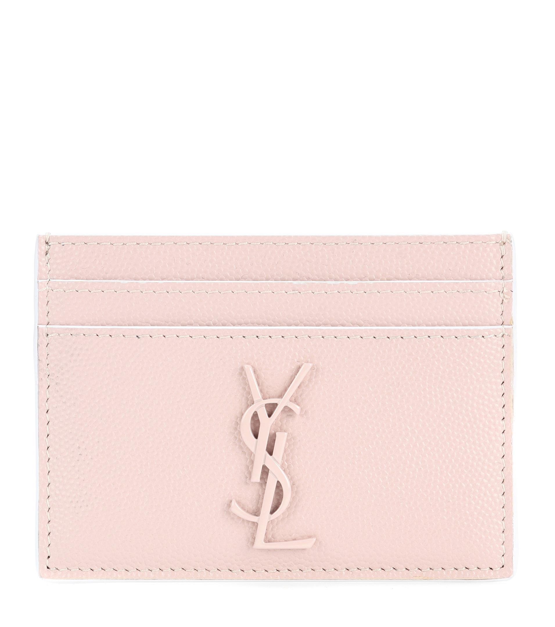81e149b23b33e Lyst - Saint Laurent Monogram Leather Card Holder in Natural