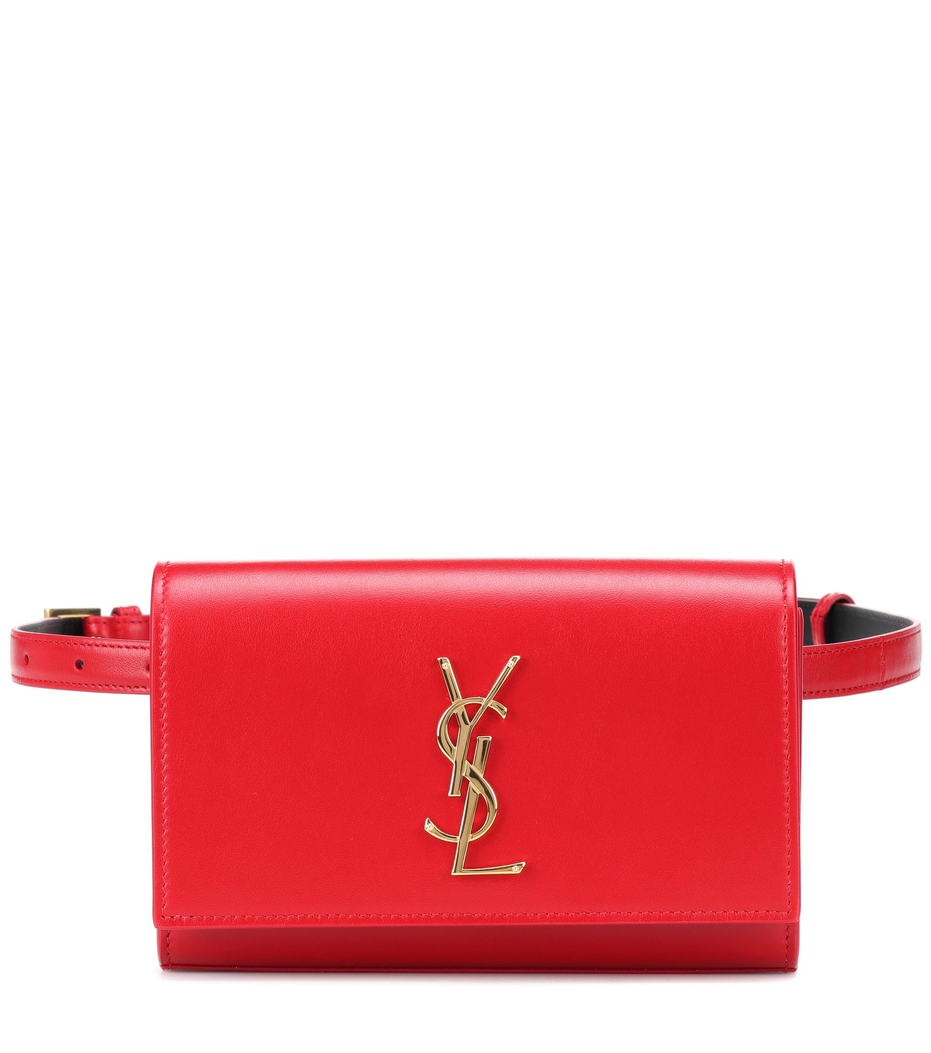 a541d0292278 Saint Laurent Kate Leather Belt Bag in Red - Lyst