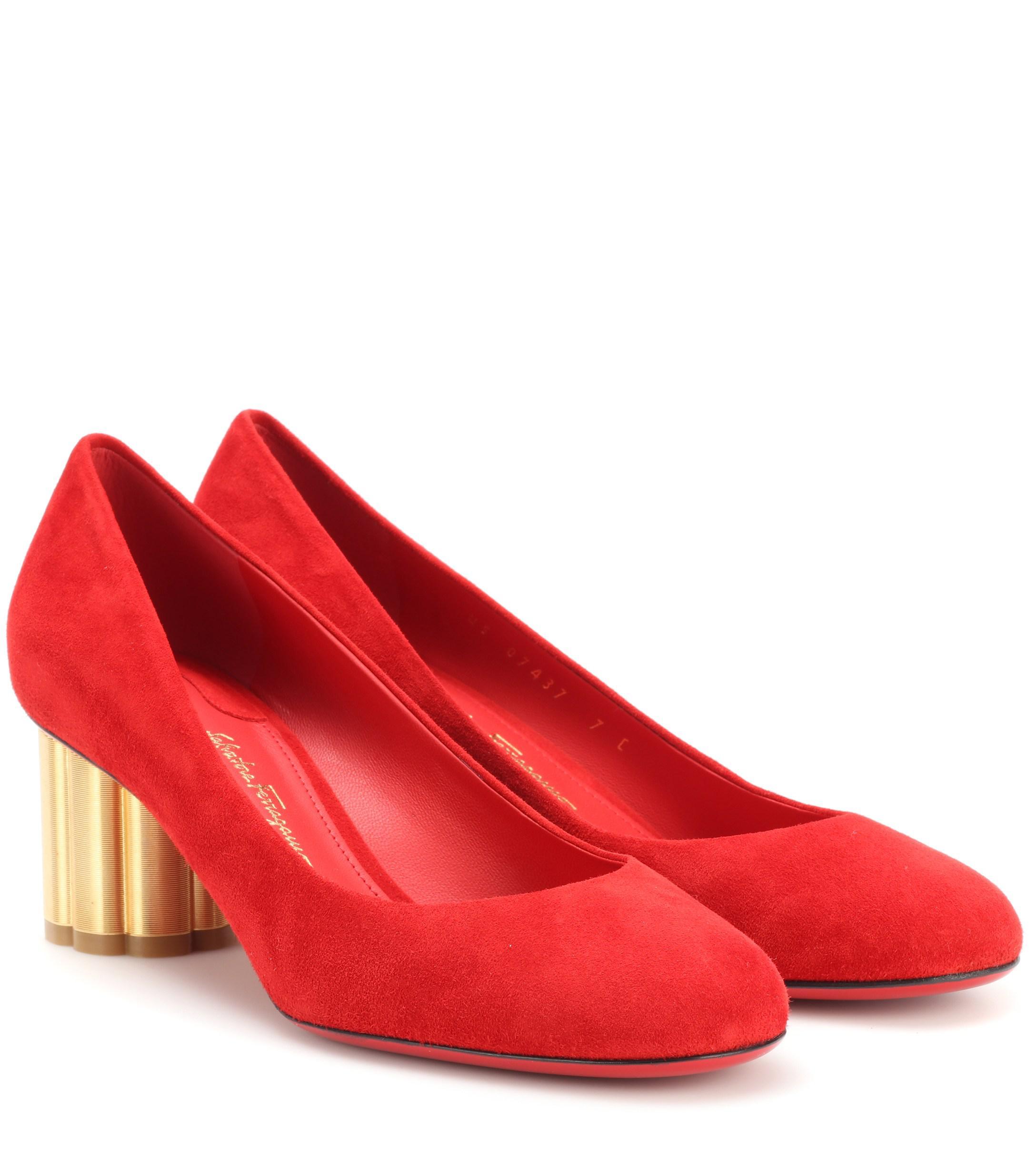 c8b59ca5e2c8 Ferragamo. Women s Red Lucca 55 Suede Court Shoes