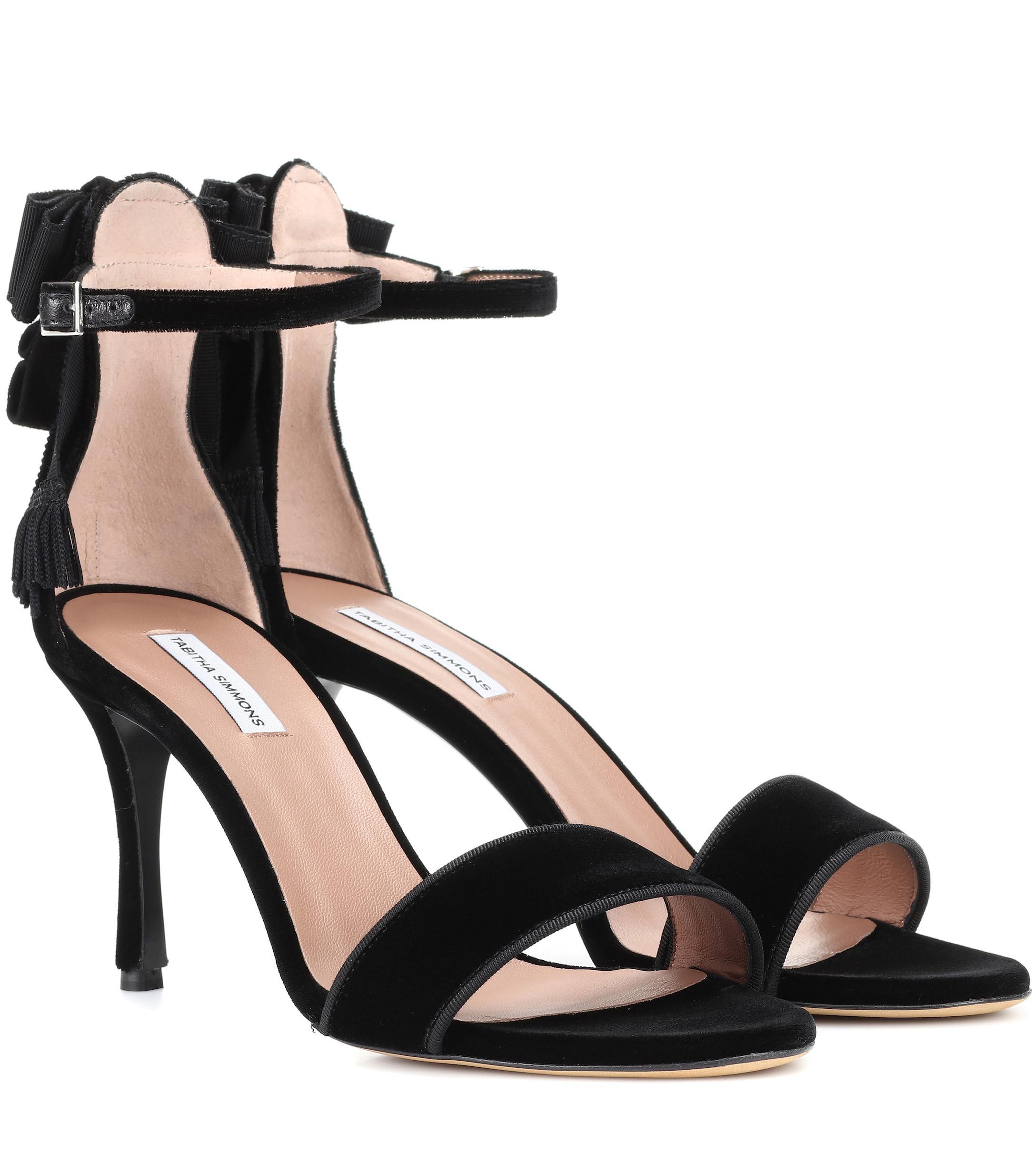 a3b5876bf57303 ... Black Frances 85 Velvet Sandals - Lyst. View fullscreen