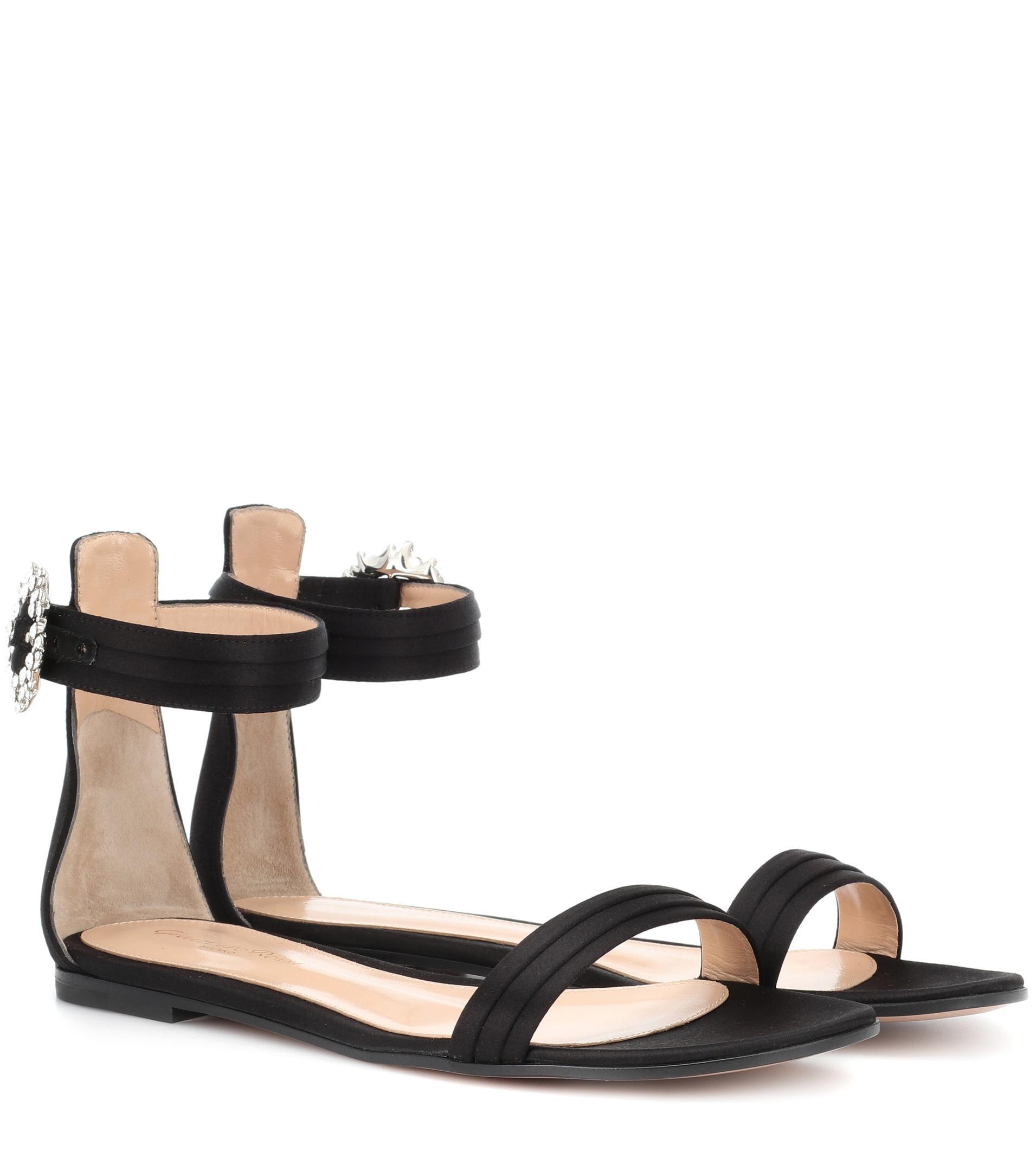 Gianvito Rossi Portofino Flat satin sandals B8I46Y4hT