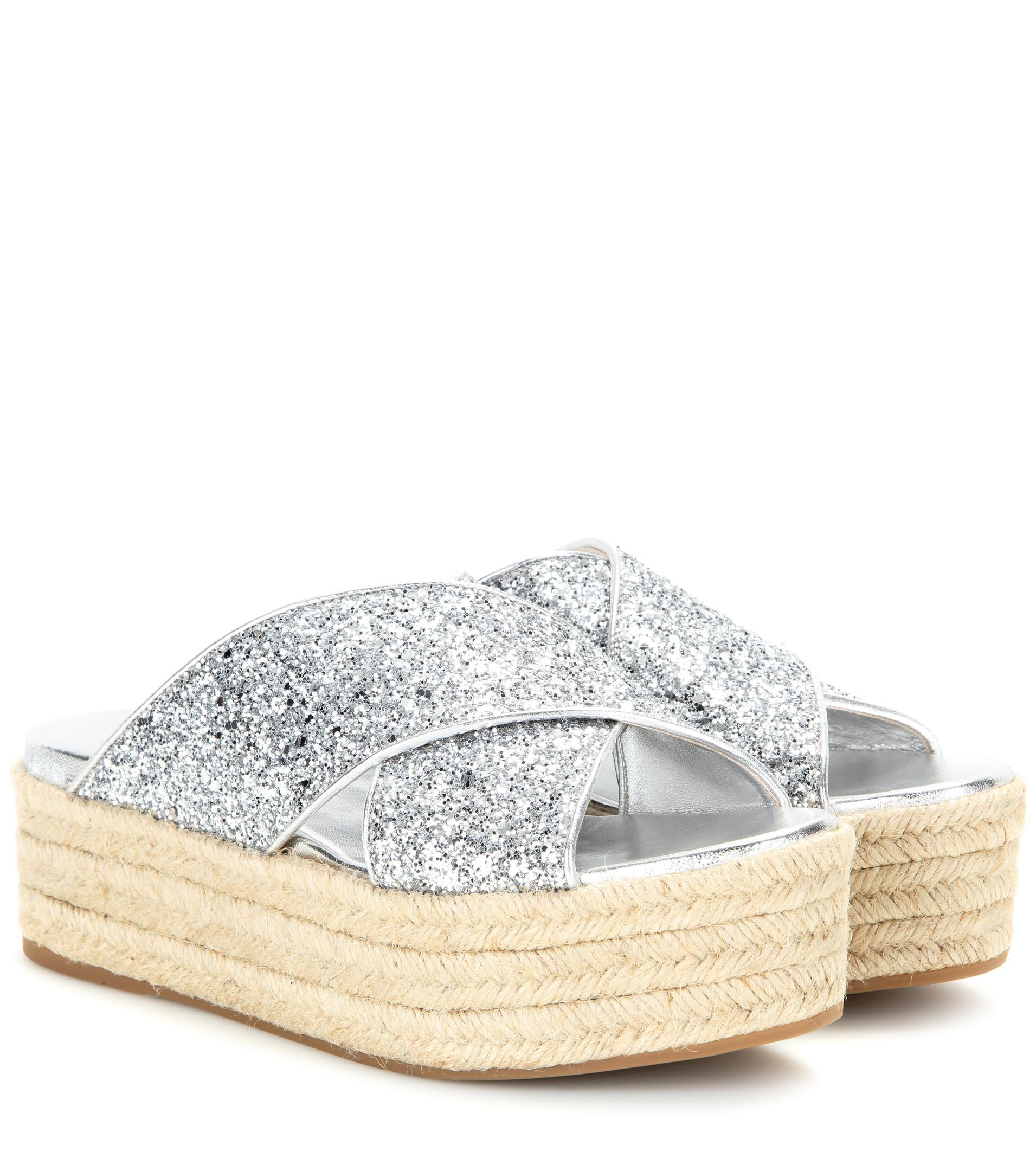 Miu Miu Glittered platform sandals krgZQW2yT