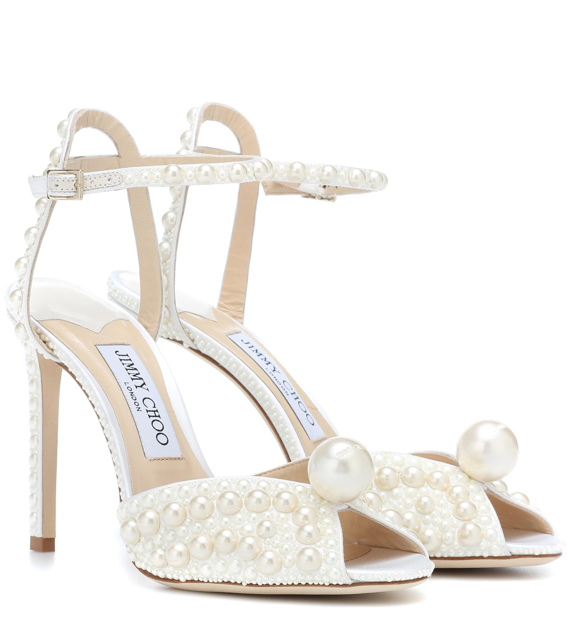 d7289b2dc88 Lyst - Jimmy Choo Sacora 100 Embellished Sandals in White