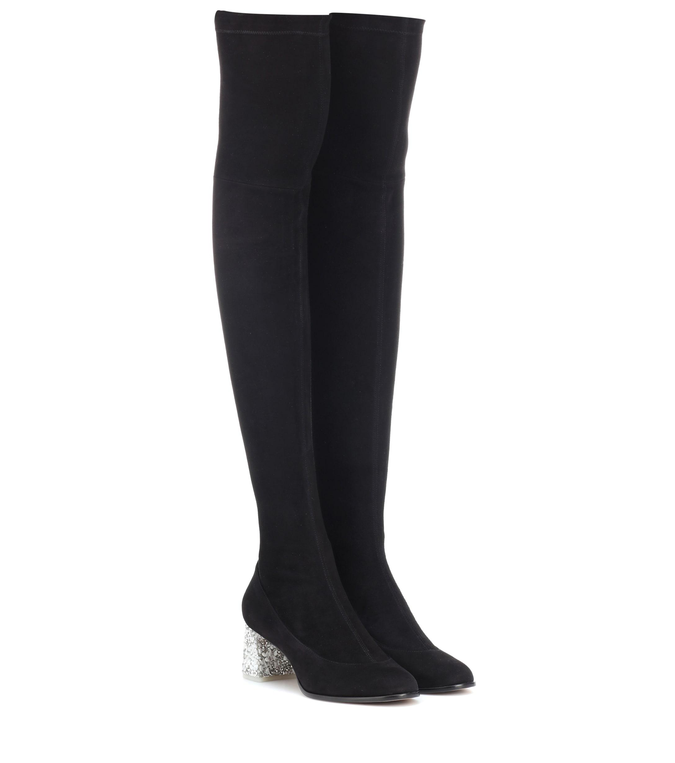 4c81f68dbd7 Lyst - Sophia Webster Suranne Suede Over-the-knee Boots in Black