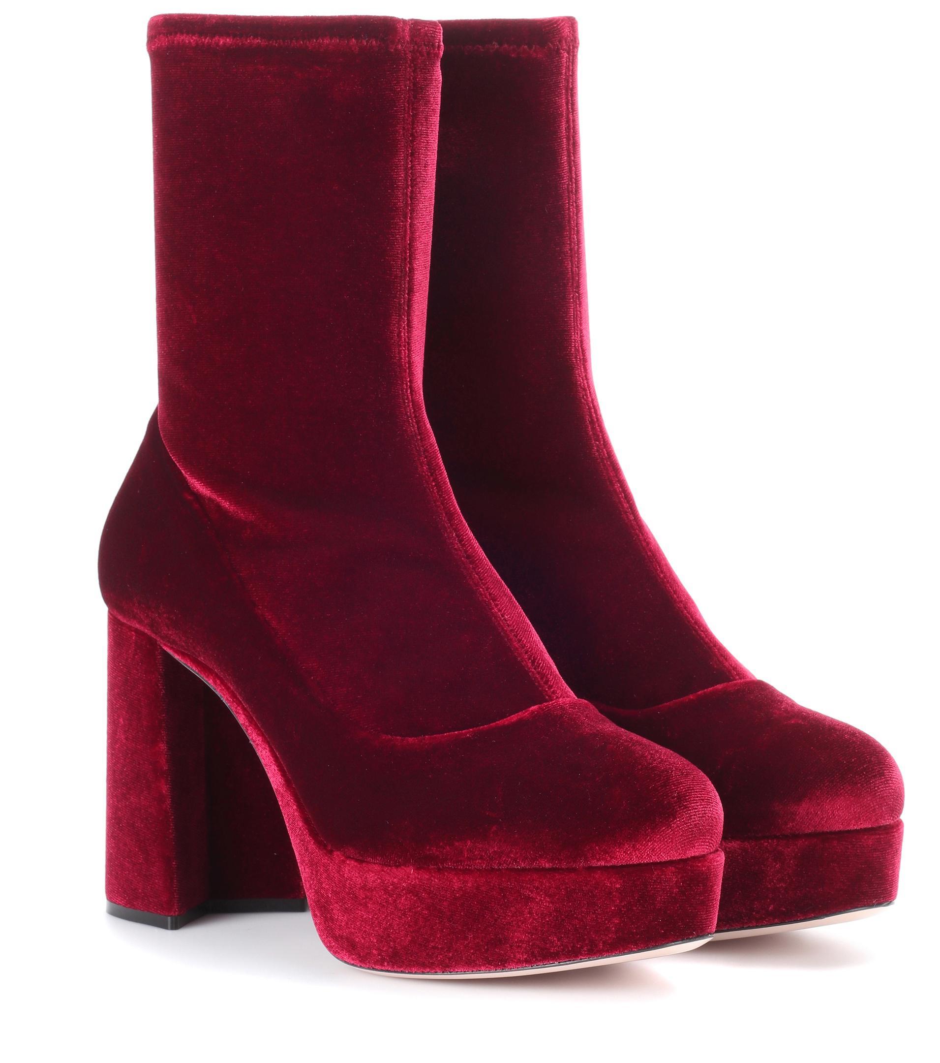 Miu Miu Velvet plateau ankle boots Ebay Cheap Online m0Zwoa