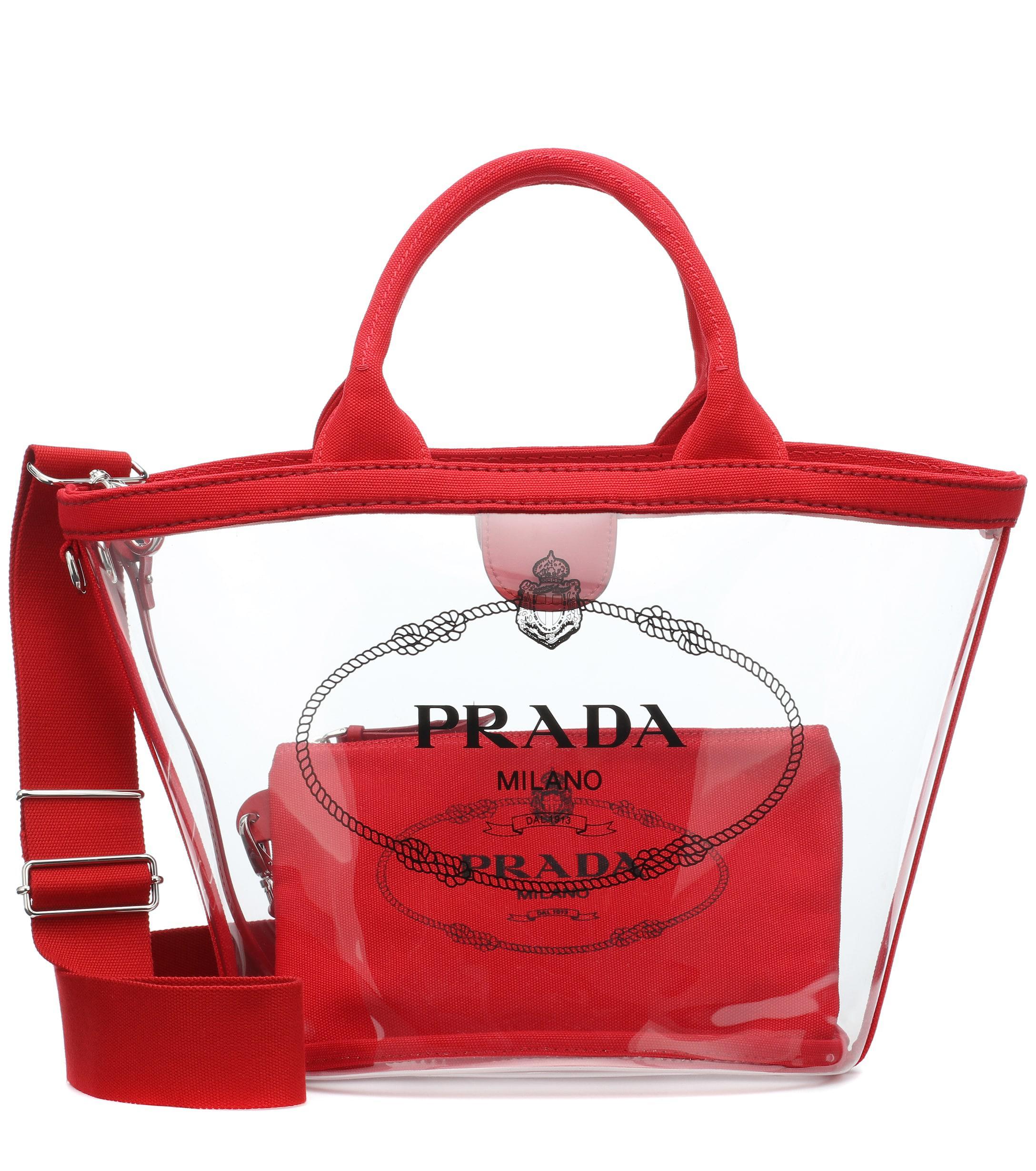 594885e4c89d Prada - Red Transparent Shopper - Lyst. View fullscreen