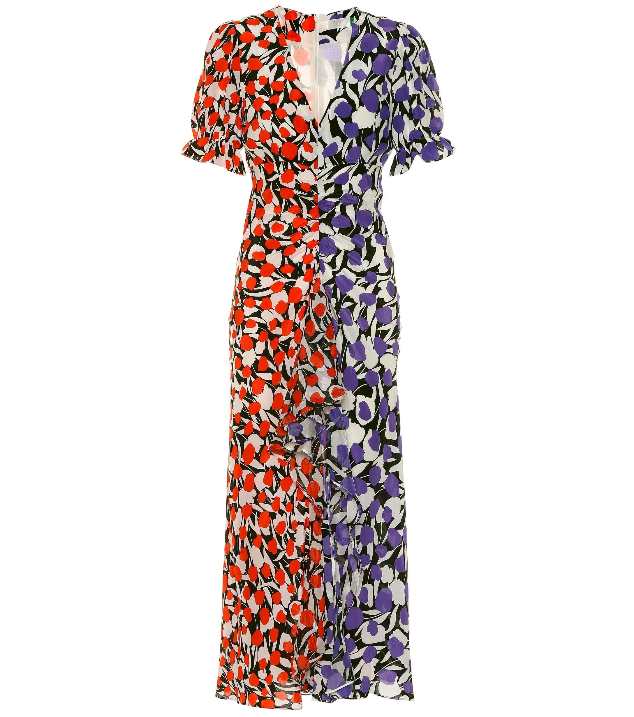9376c149ee Lyst - RIXO London Ariel Printed Silk Maxi Dress in Red