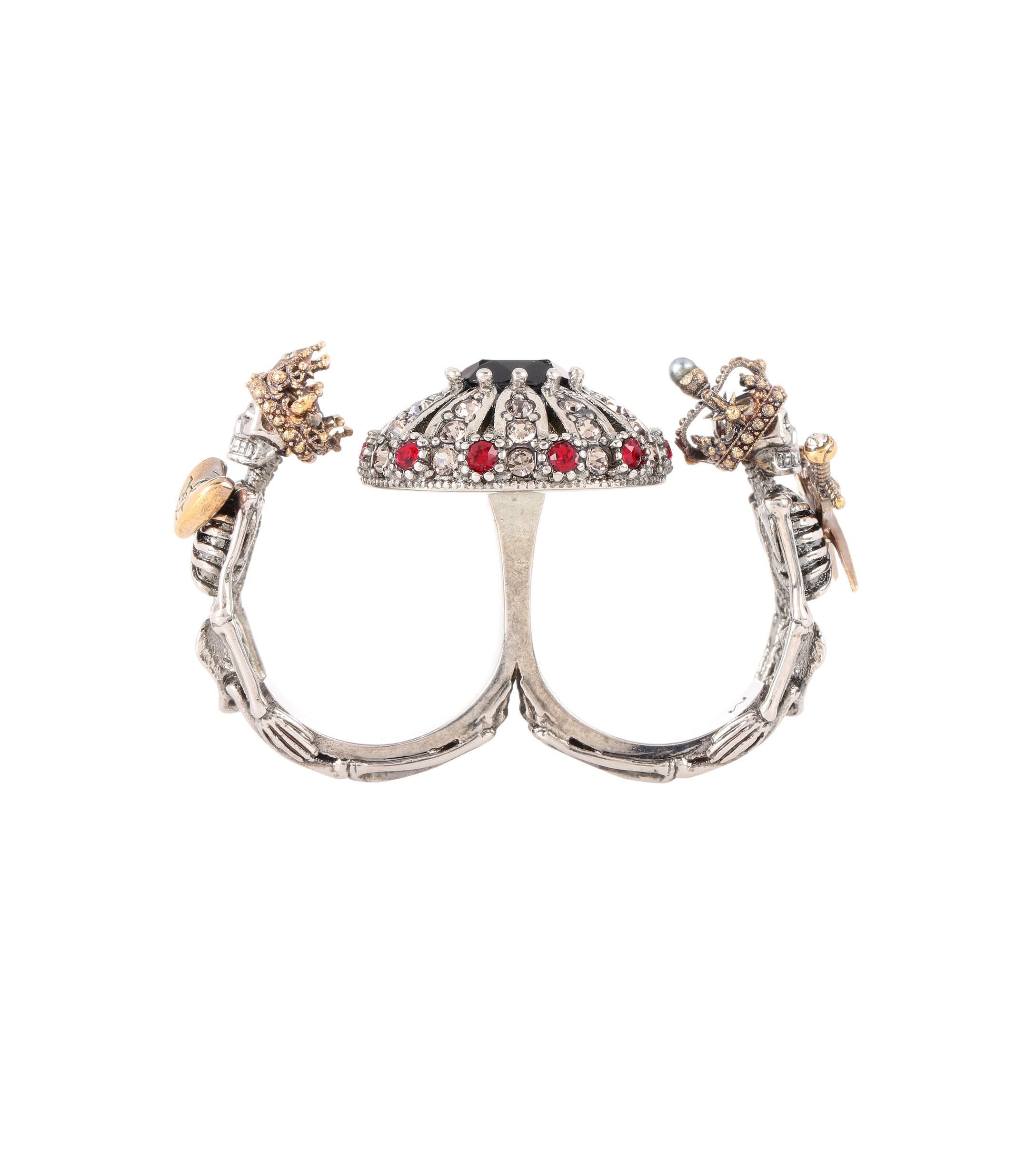 Alexander Mcqueen Queen Amp King Multi Finger Ring In