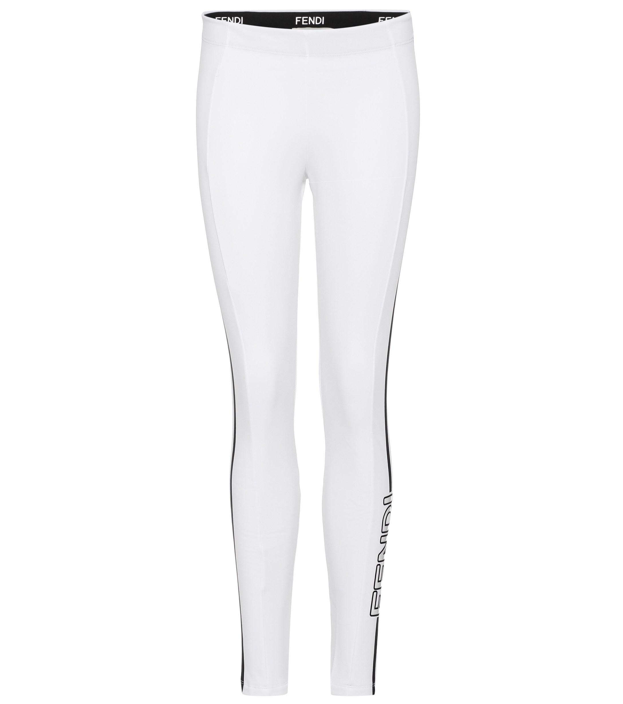 704d885ce15ca6 Lyst - Fendi Printed leggings in White