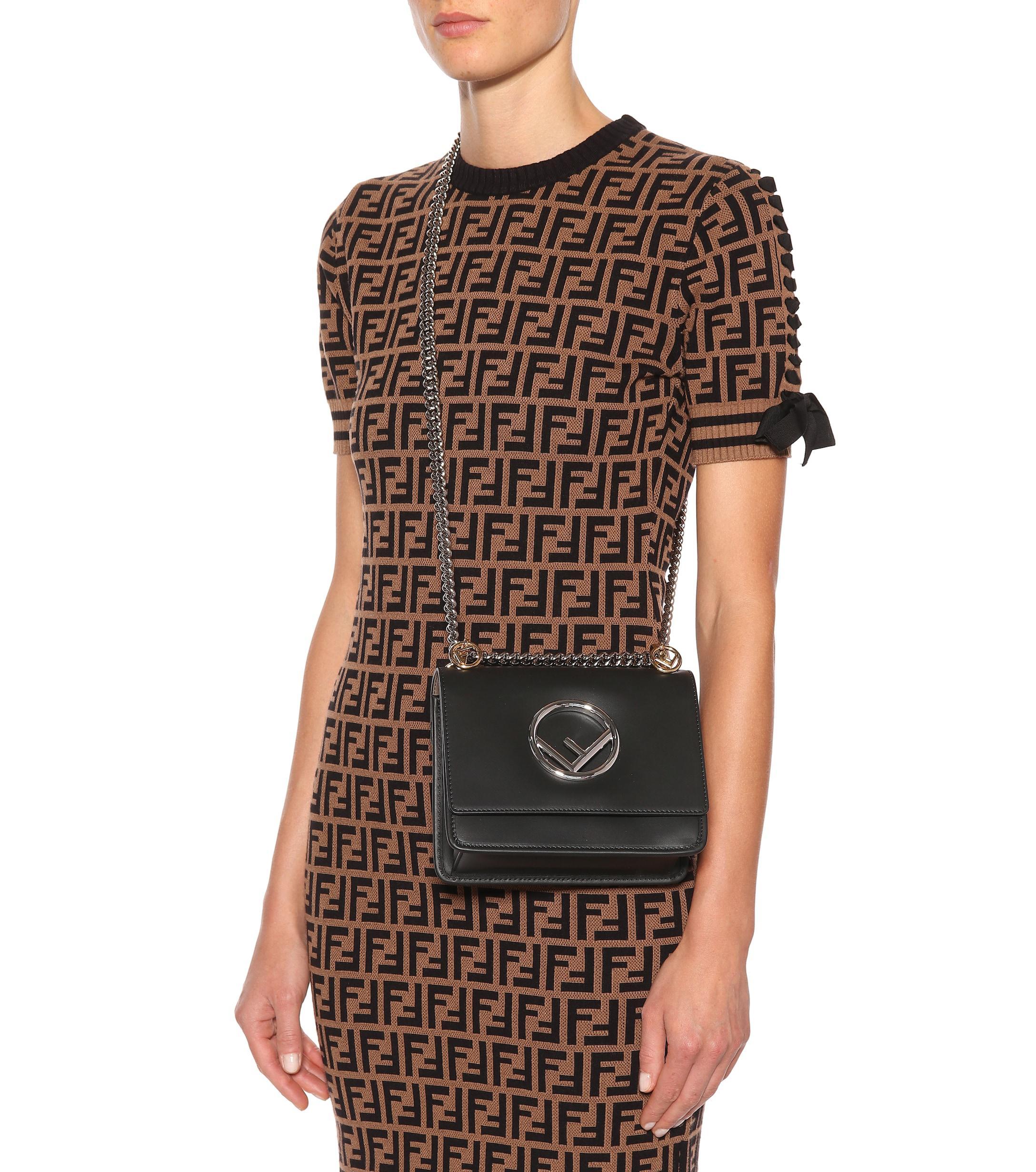 6e038d23eed Fendi - Black Kan I F Small Leather Shoulder Bag - Lyst. View fullscreen