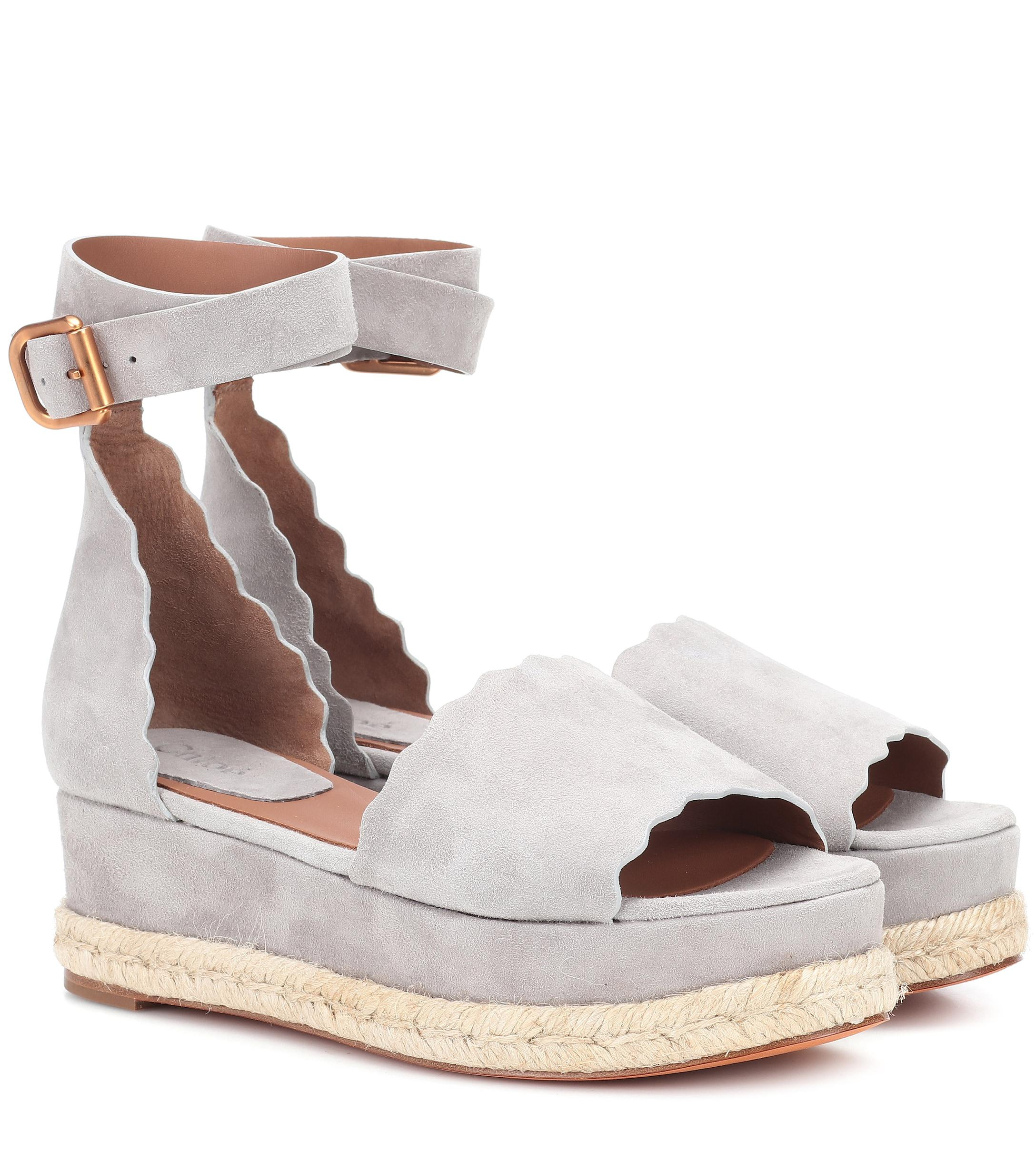 a2a100449969 Chloé Lauren Suede Platform Sandals in Gray - Save 30% - Lyst