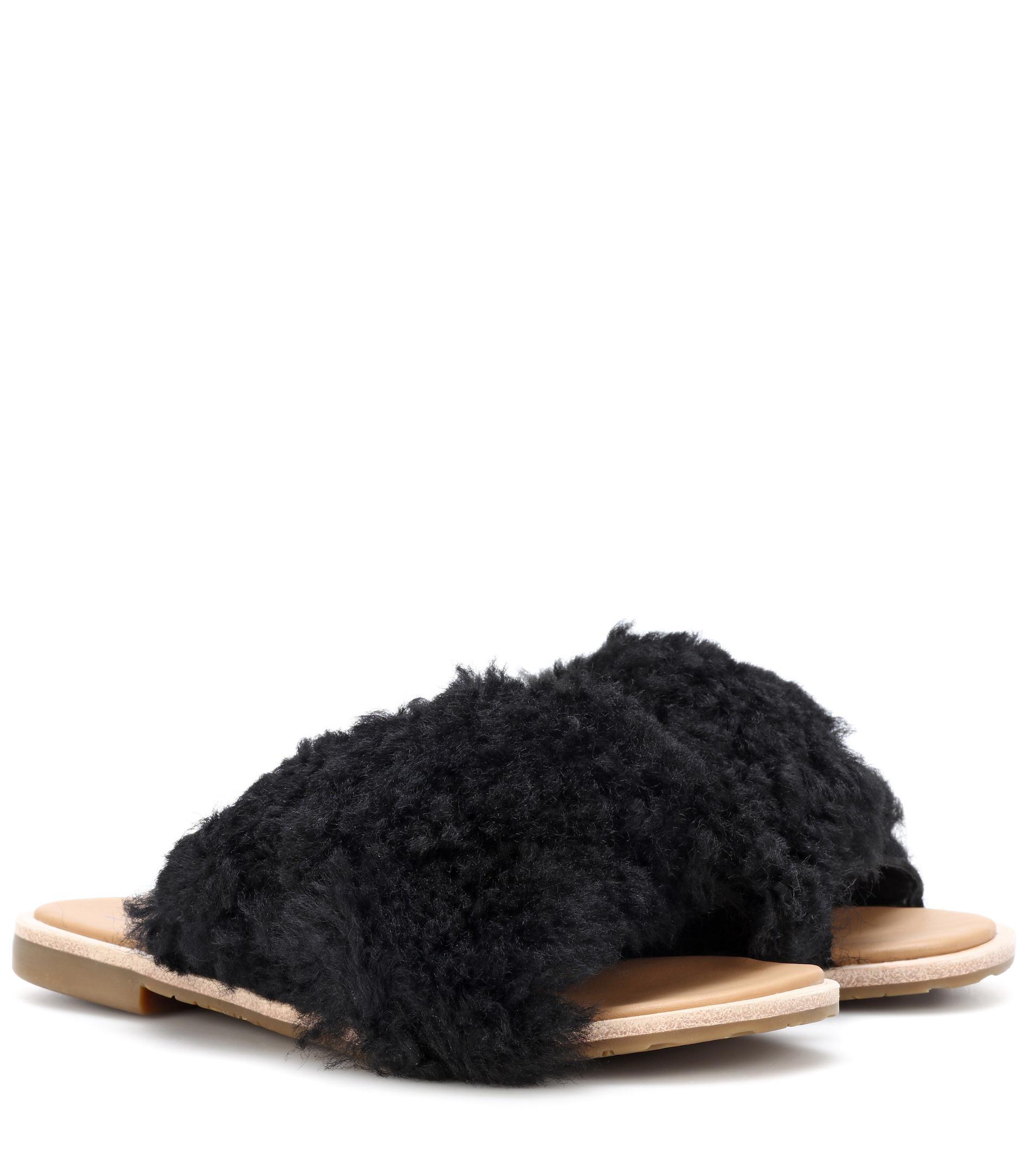 fd50f3eb61a Lyst - UGG Joni Shearling Sandals in Black