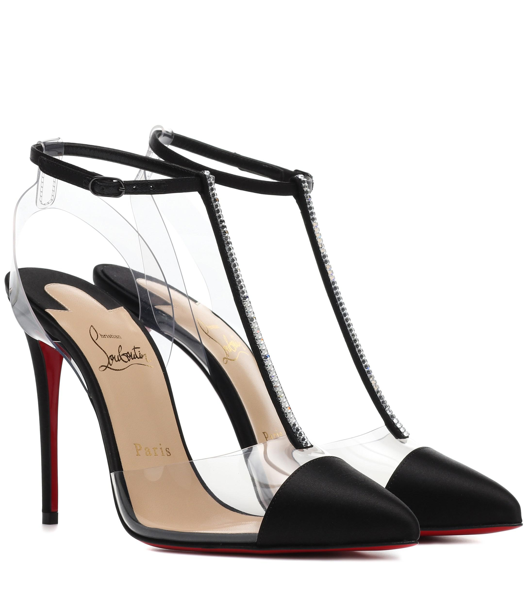 be09413c6f0d Lyst - Christian Louboutin Nosy Strass Red Sole Pumps in Black - Save 9%