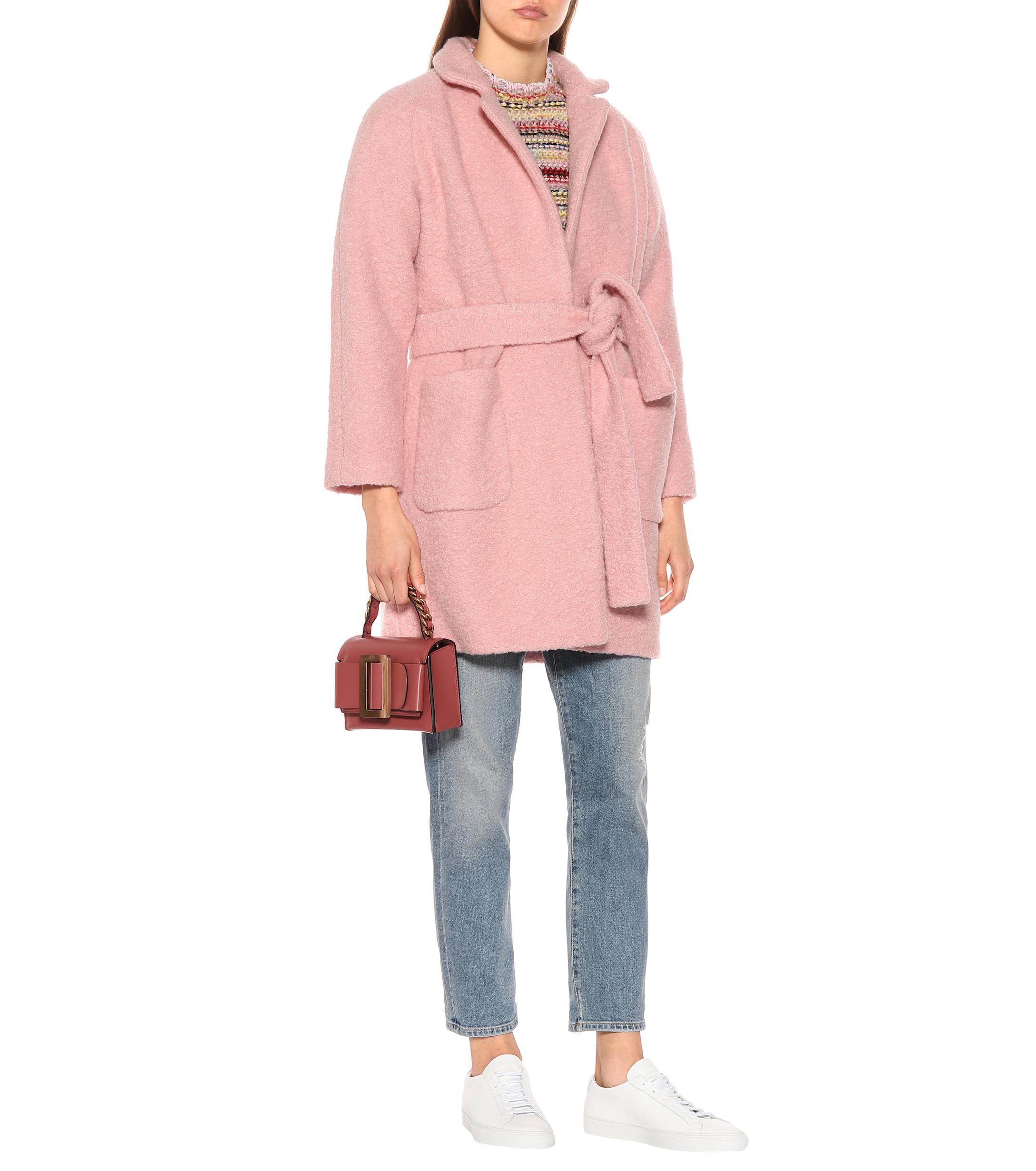 b5d42161ae Lyst - Manteau Fenn en laine mélangée Ganni en coloris Rose