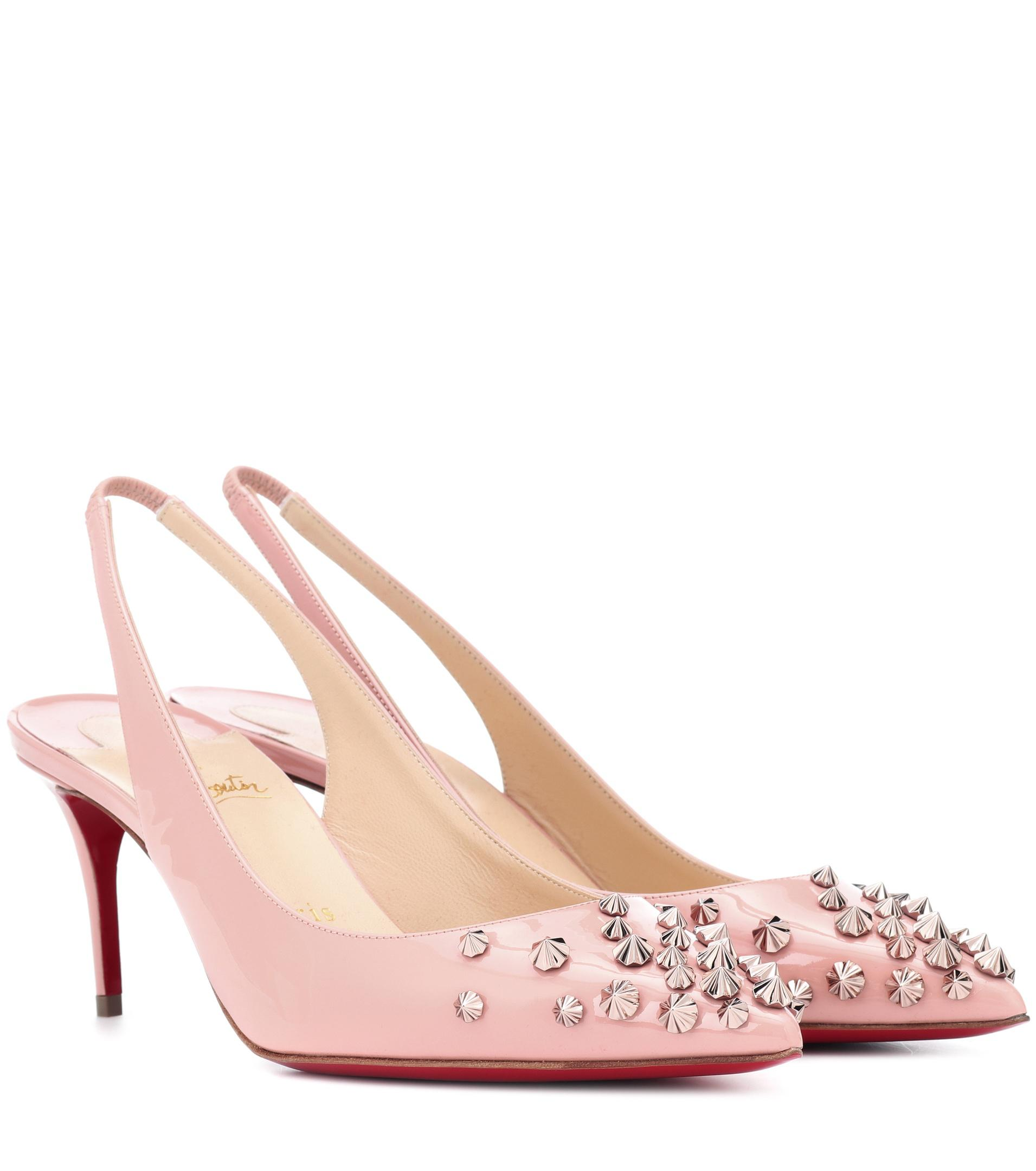 d35588c2c7dd Christian Louboutin Drama Sling 70 Patent Leather Pumps in Pink - Lyst