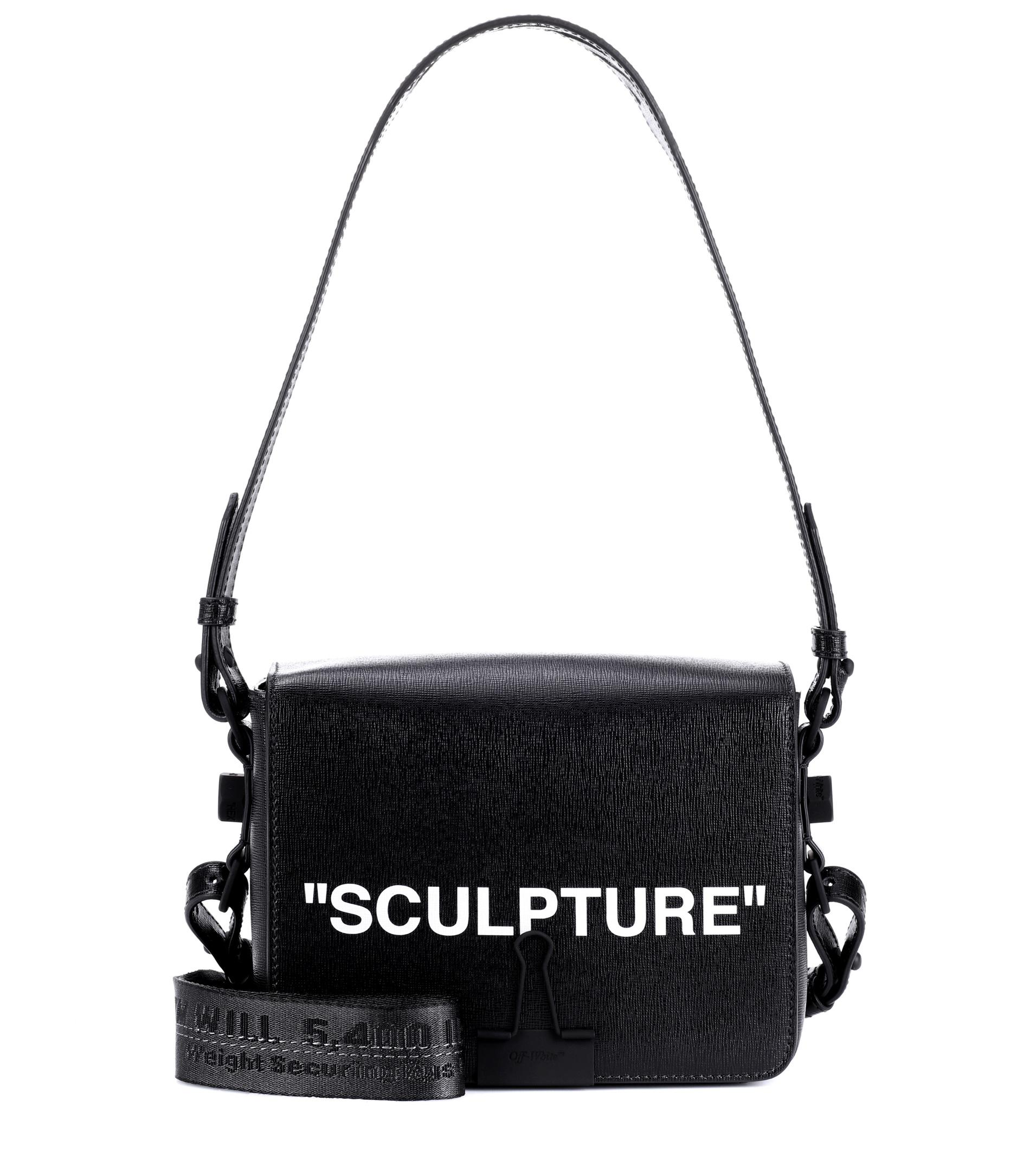 Off-white Sculpture Saffiano Leather Flap Crossbody Bag with Binder Clip dsav4ey