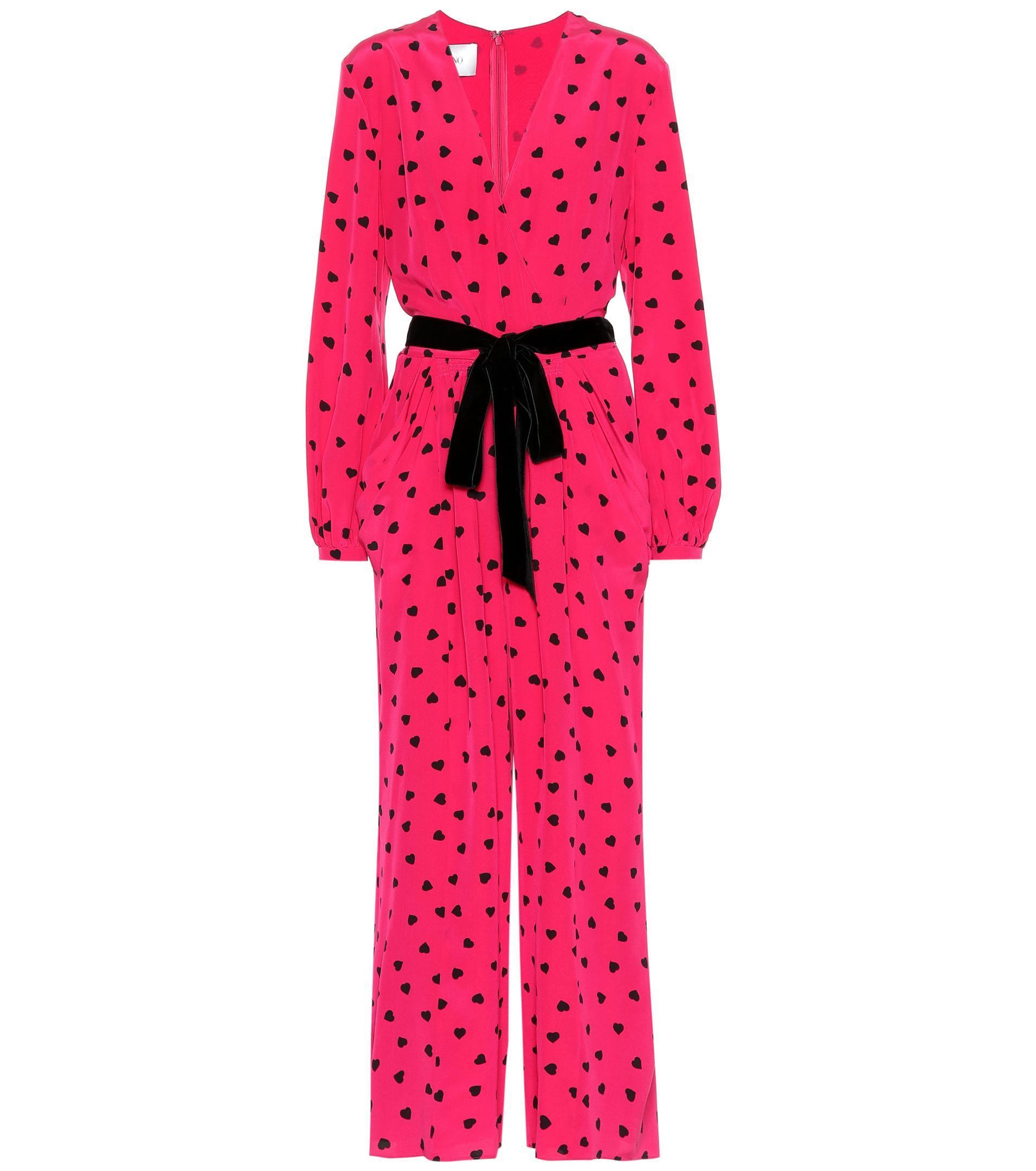 a3b89de2efe Lyst - Valentino Heart Print Silk Jumpsuit in Pink - Save 62%