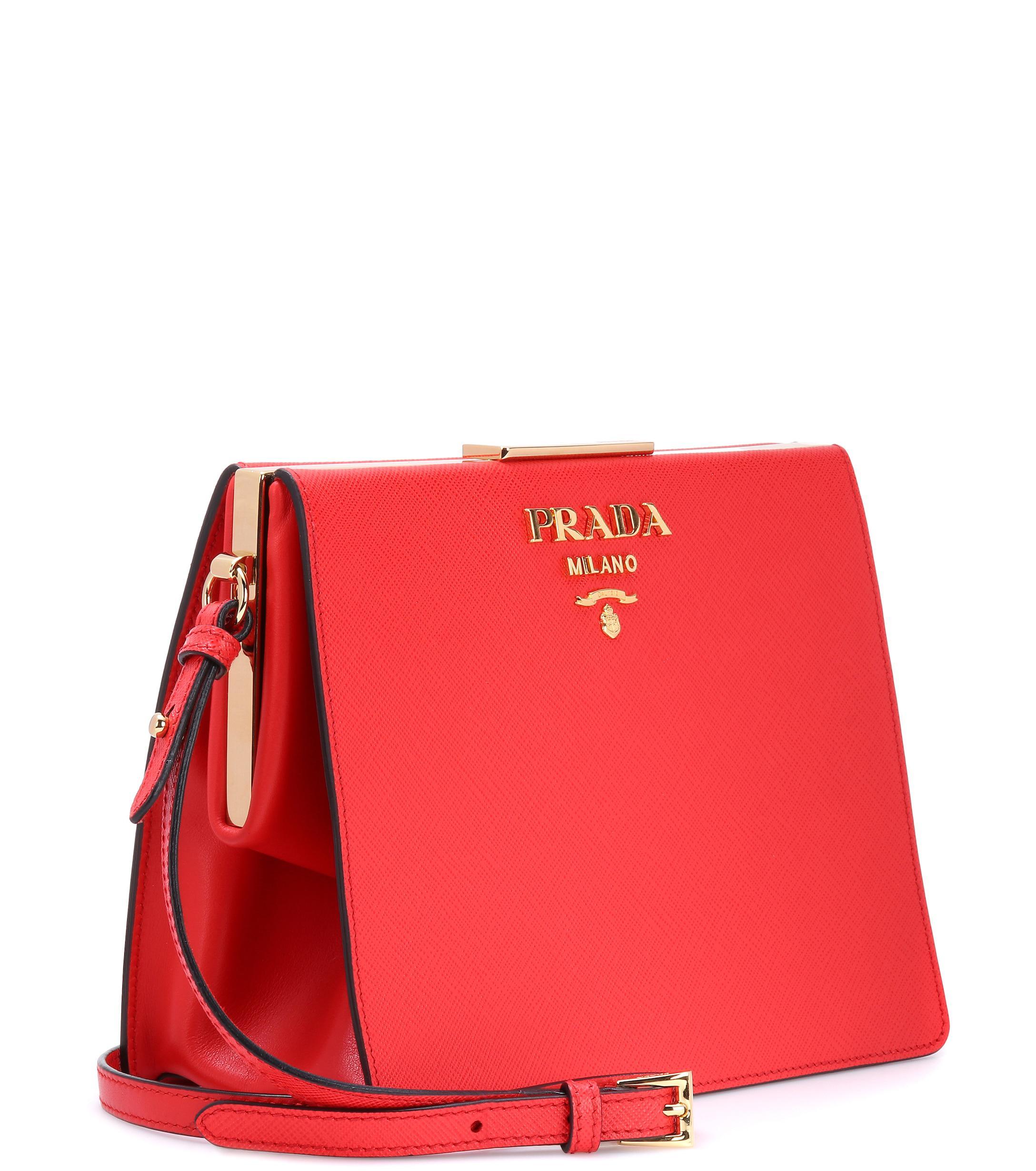 b00903b952 Prada - Red Exclusive To Mytheresa. Com – Saffiano Leather Shoulder Bag -  Lyst. View fullscreen